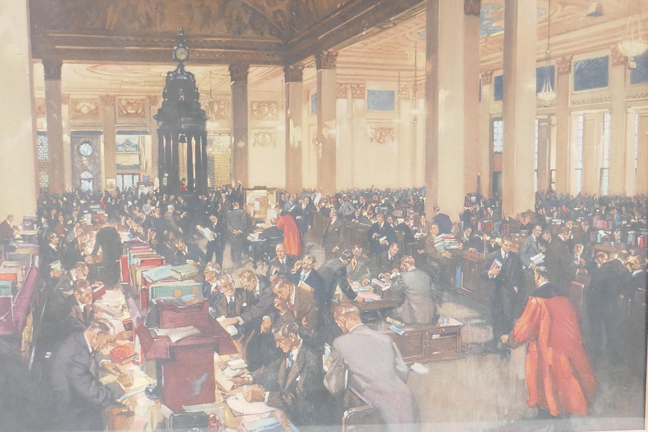 """Terence Cuneo, colour print 'The underwriting room at Lloyds', 23"""" x 20"""", together with an - Image 2 of 7"""