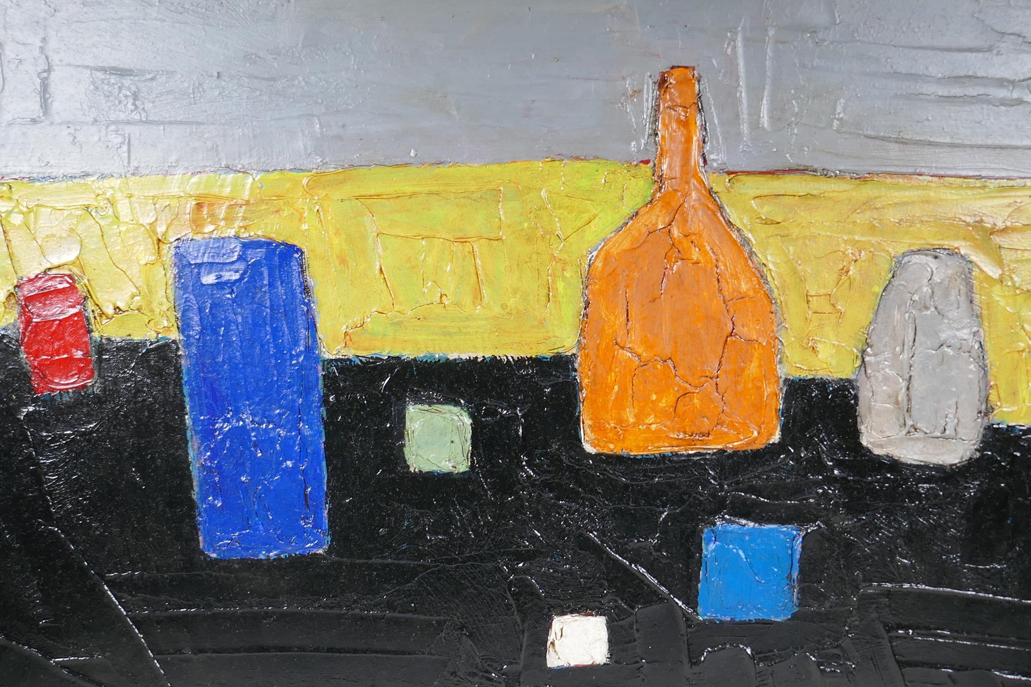 "After Nicolas de Stael, abstract still life of vases, impasto oil on canvas,unframed, 36"" x 24"""