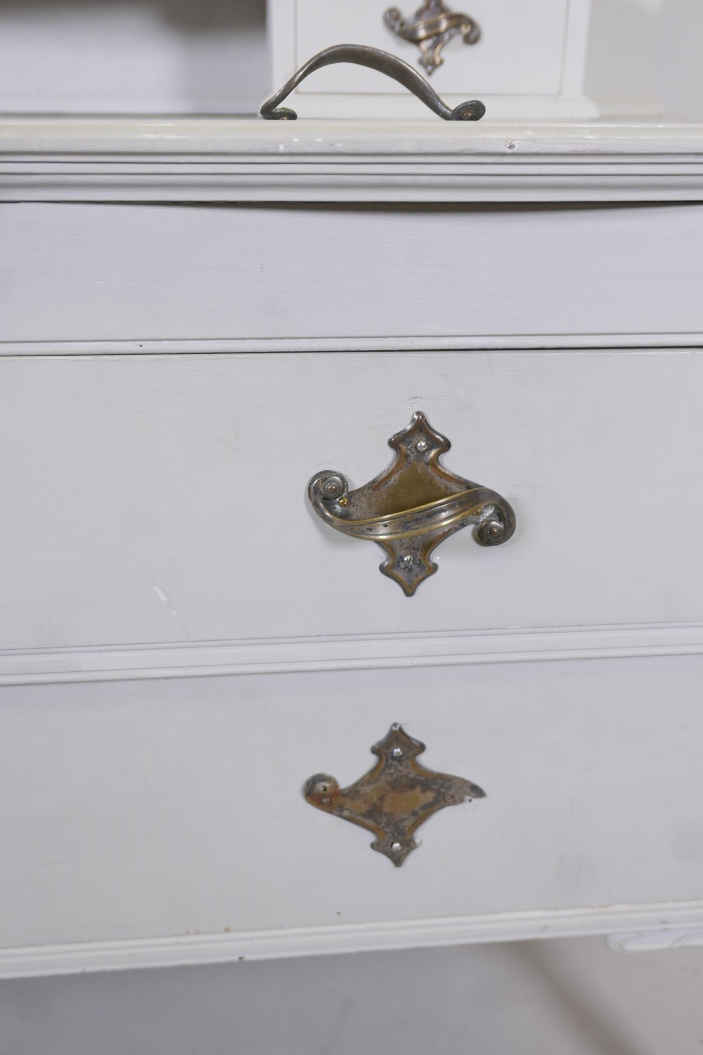 An Edwardian painted dressing table, with carved details, the mirrored top section with two drawers, - Image 3 of 5