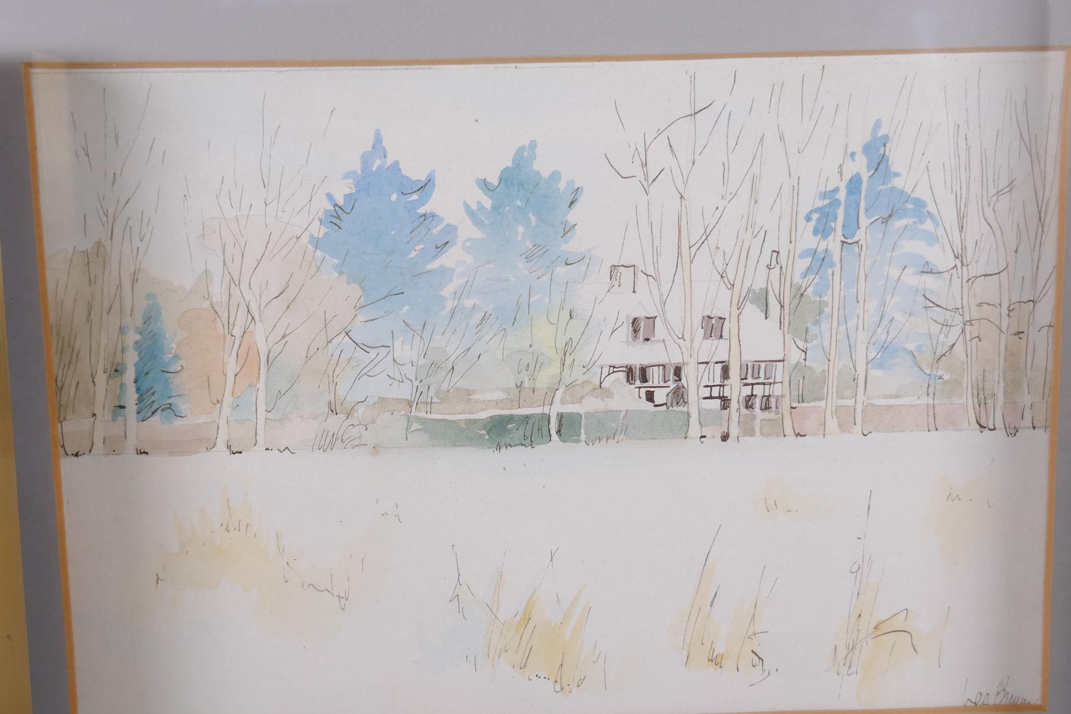 """Lee Brown, three watercolour landscapes, largest 9"""" x 6"""", signed"""