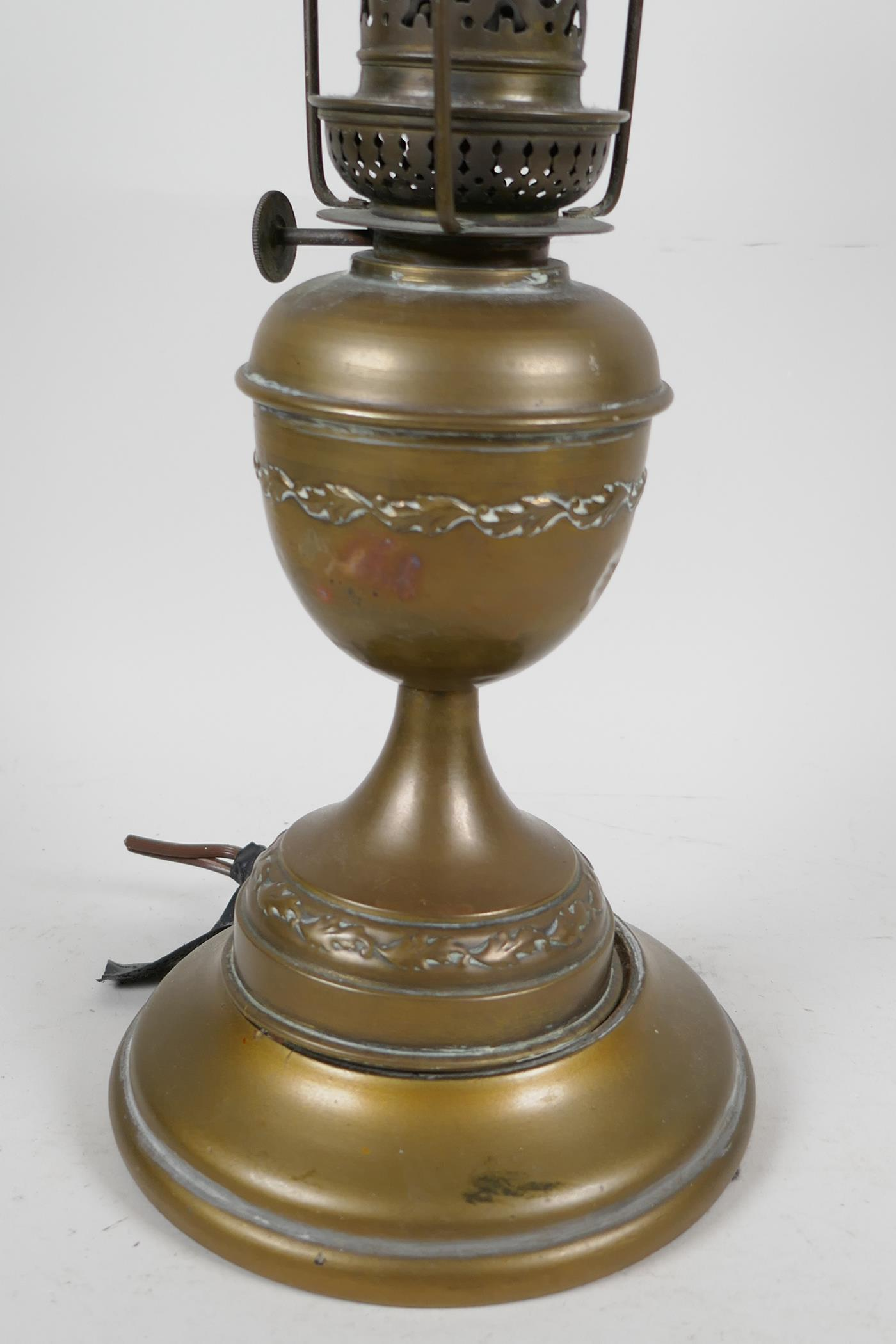"""A brass table lamp with brass shade set with coloured stones, 13"""" high - Image 2 of 3"""