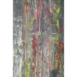 """Abstract oil on board, signed Buchanan to the reverse, unframed, 24"""" x 24"""""""