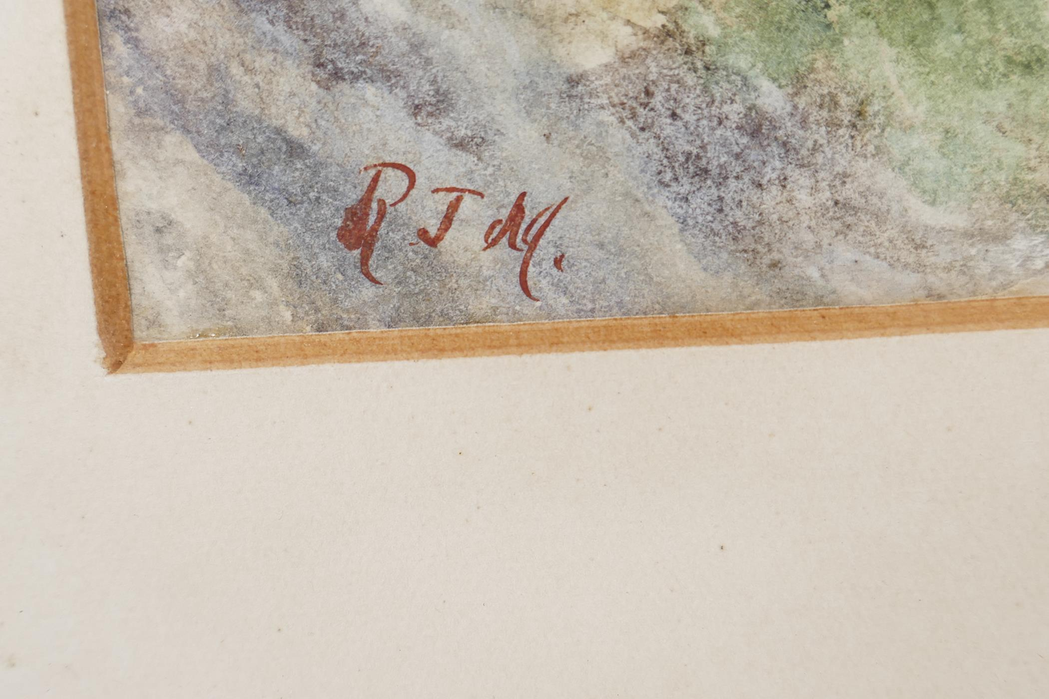 """A watercolour mountain landscape with deep river gorge initialled RJM, 9½"""" x 13½"""", - Image 4 of 4"""