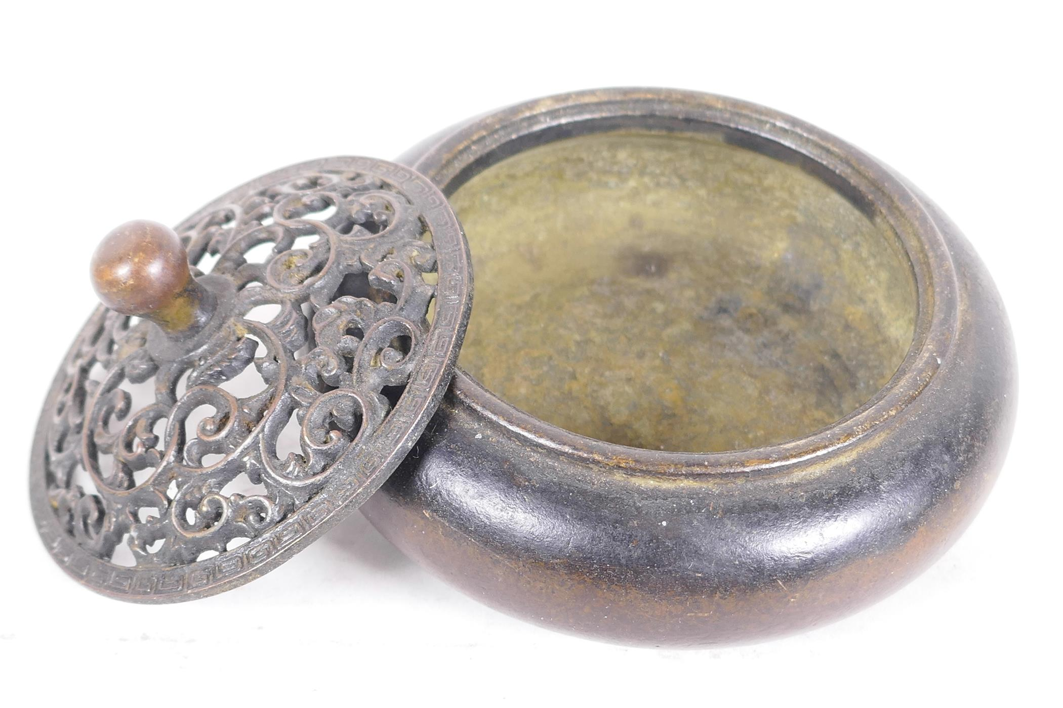 """A Chinese bronze censer with pierced lid, 4"""" diameter - Image 3 of 3"""