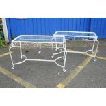 """A pair of painted metal coffee tables, with glass tops, 36"""" x 20"""", 19½"""" high"""