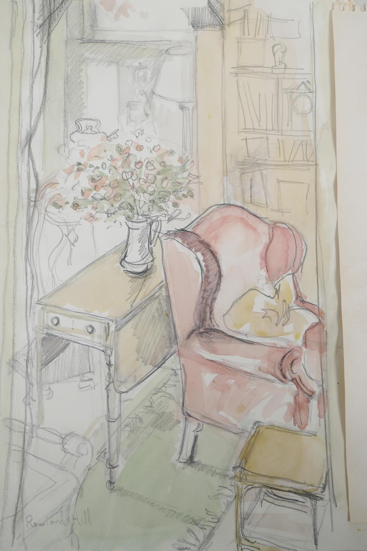 Two unframed watercolour and pencil drawings, interior scene and female figure study, one signed - Image 3 of 4