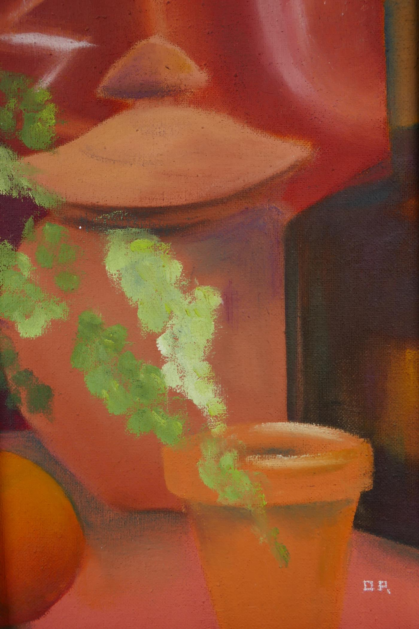 Dara Park (contemporary British), a pair of still lifes featuring terracotta pots and foliage, - Image 4 of 6