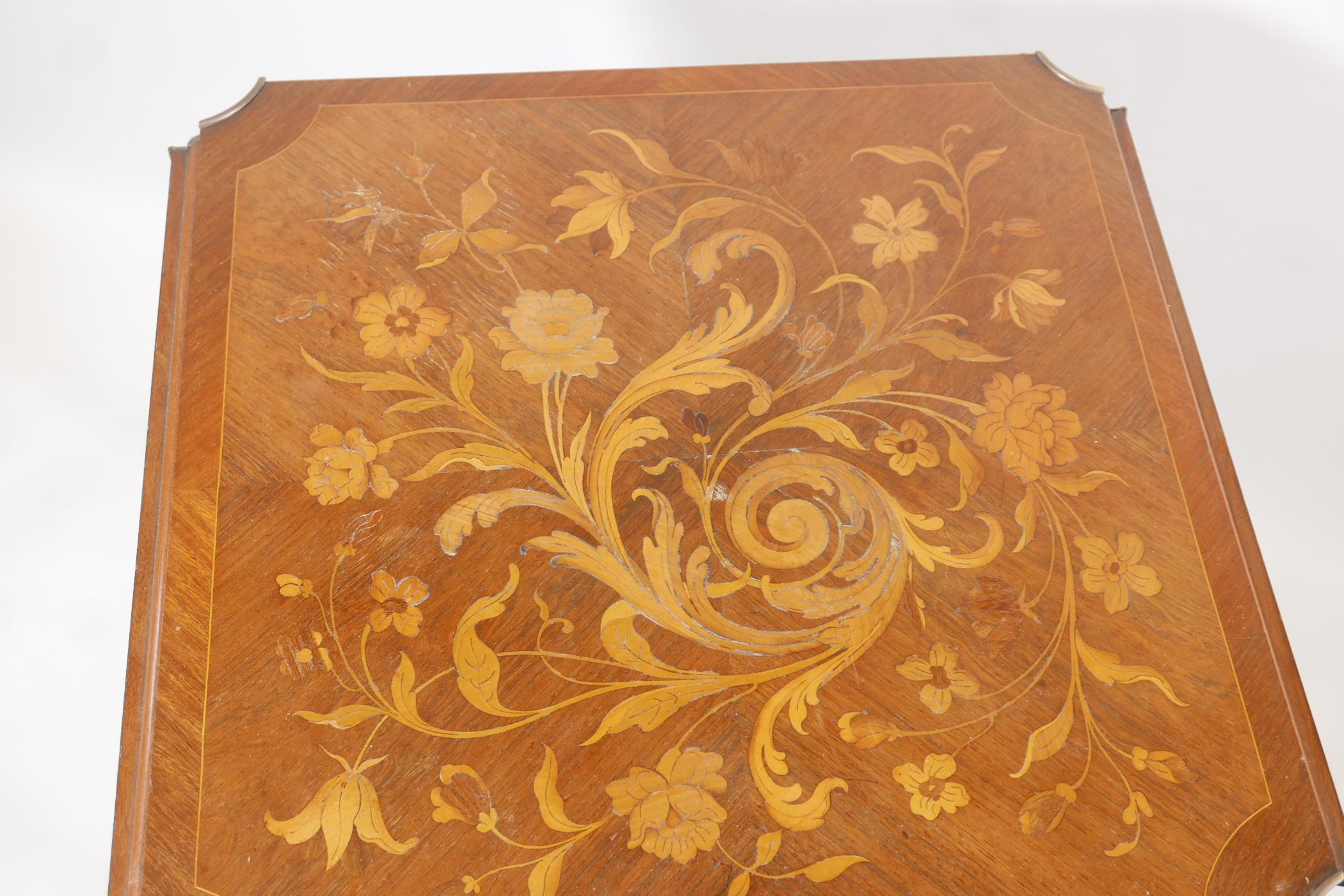 A French C19th marquetry inlaid rosewood centre table, with shaped drop leaves and gilt brass - Image 3 of 5