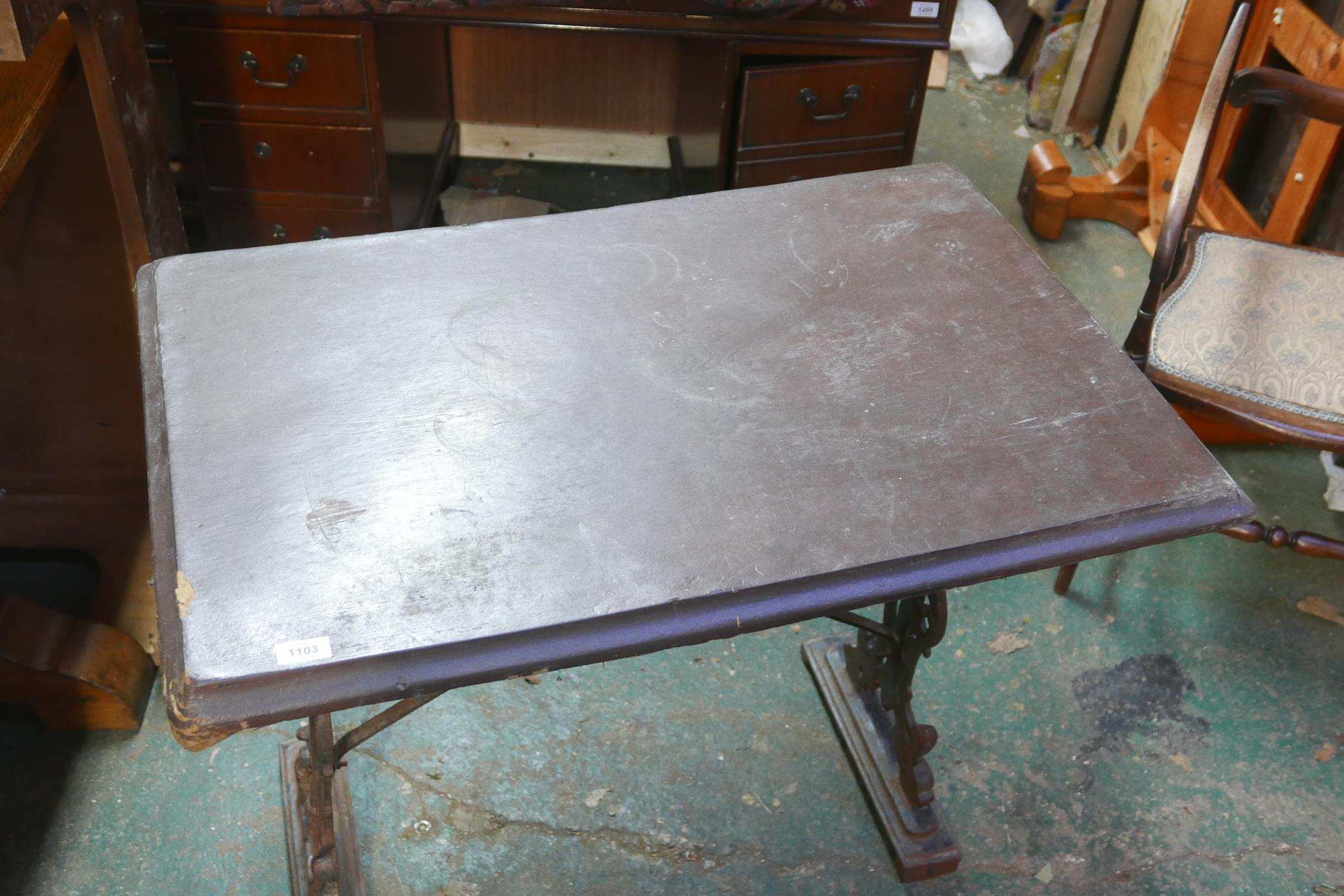 """A garden table with cast iron base, A/F, 28½"""" high x 36"""" x 24"""" - Image 2 of 3"""