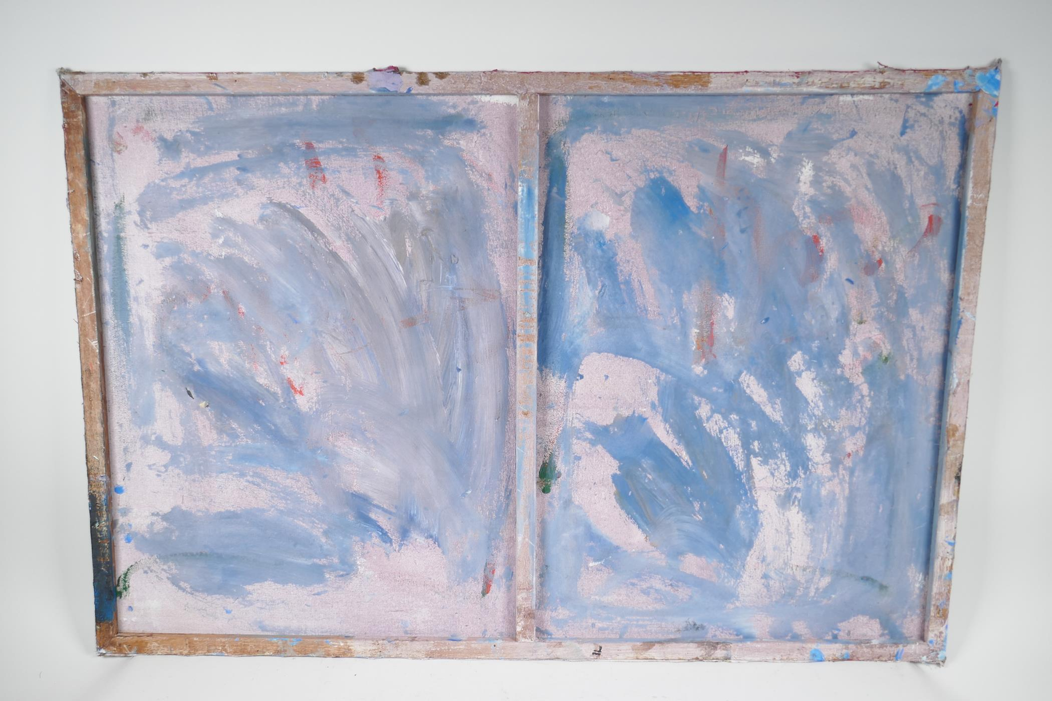 """After Nicolas de Stael, abstract still life of vases, impasto oil on canvas,unframed, 36"""" x 24"""" - Image 3 of 4"""