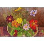 "Alexander Bilibeim(?), still life of flowers, labelled verso, oil on board, 18"" x 14"""