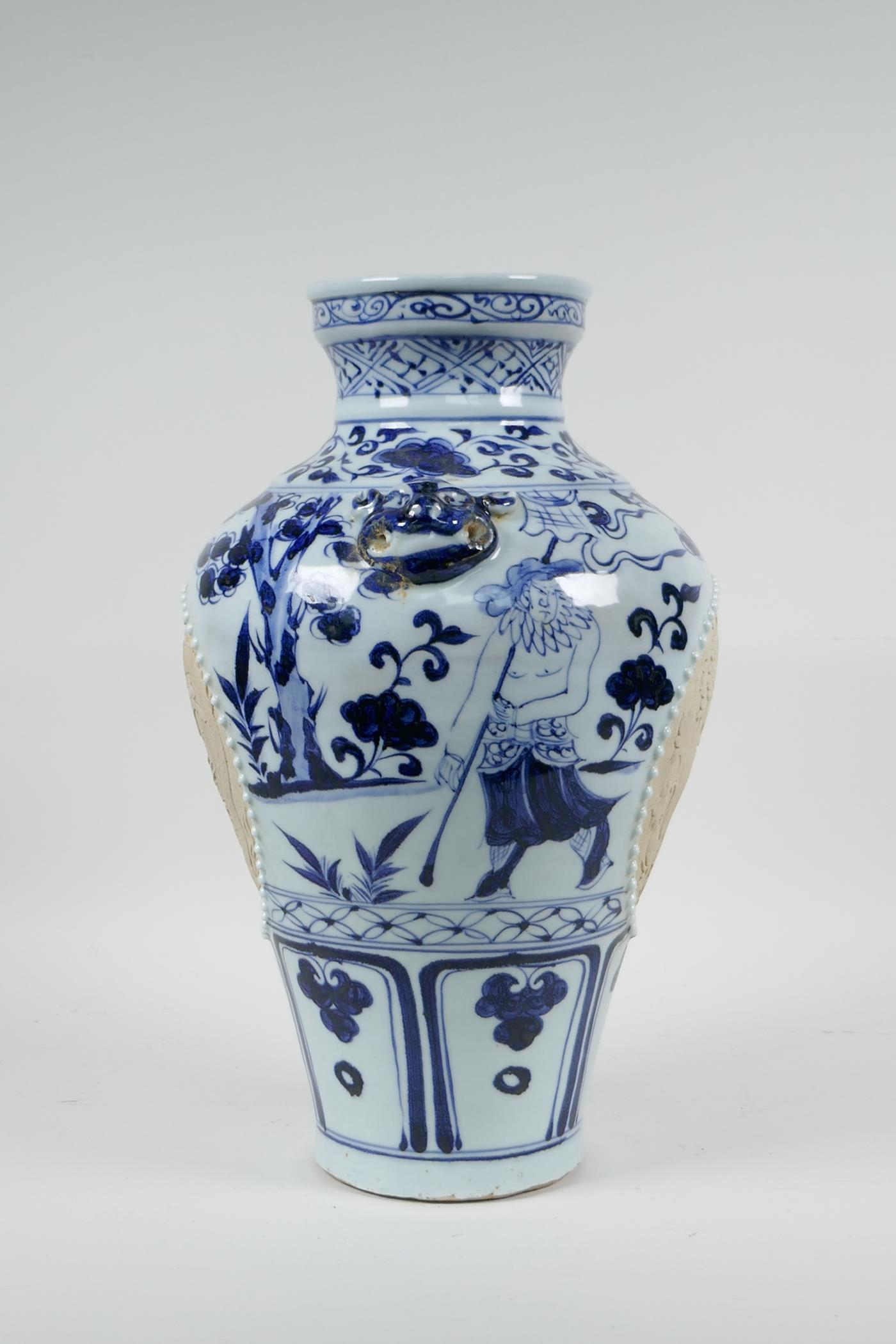A Chinese blue and white porcelain vase with two lion mask handles, chased decorative panels - Image 6 of 8