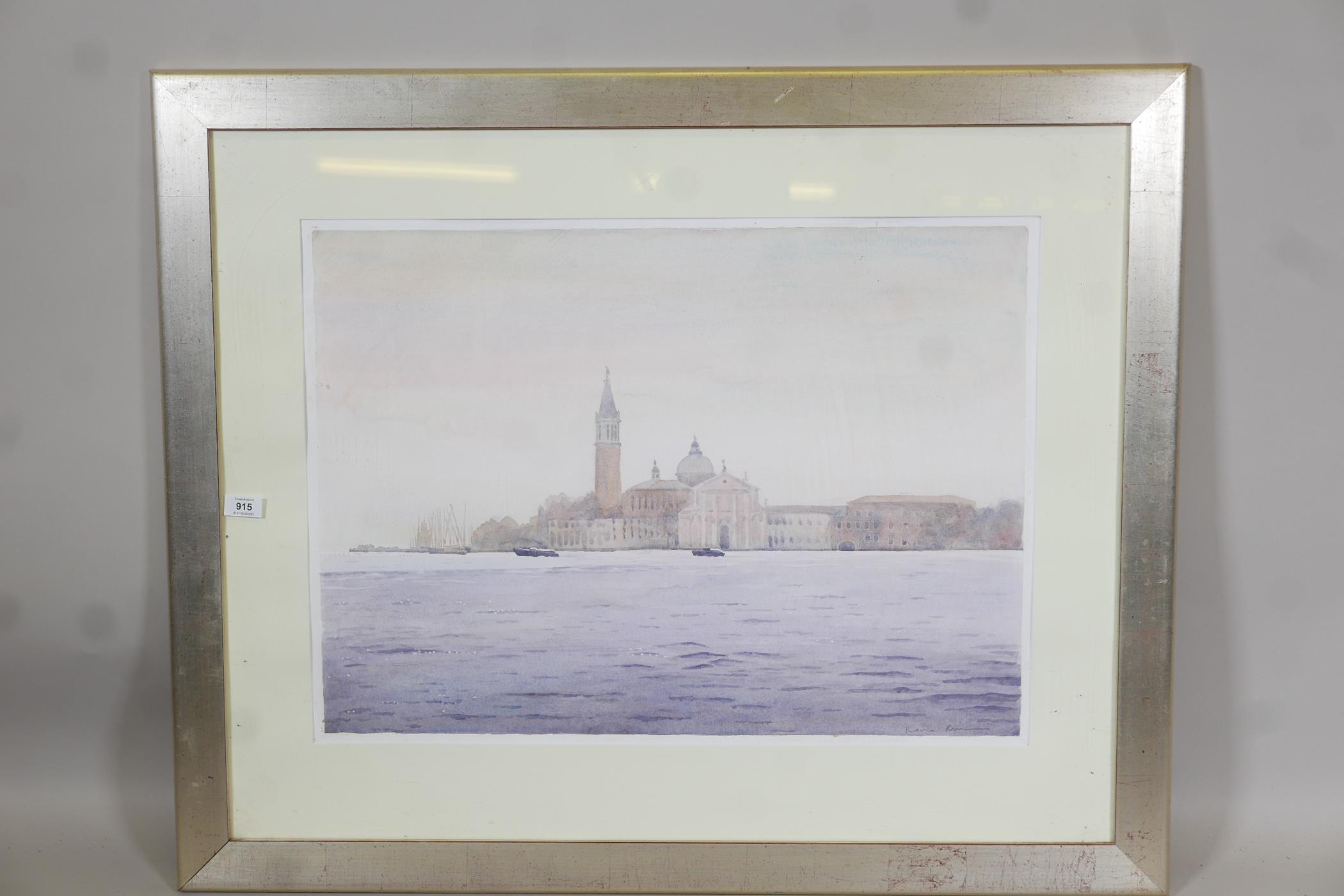 "A colour print of Venice lagoon, Morning mist San Georgio, by Ilana Richardson, 28"" x 20½"" - Image 2 of 4"