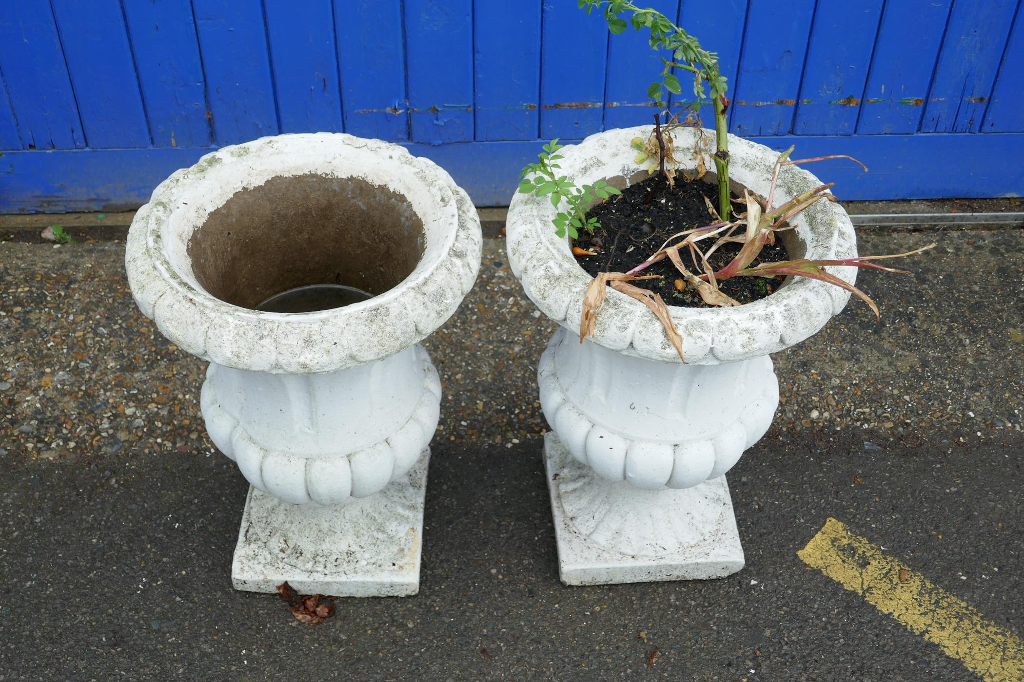 """A pair of painted concrete garden urns, 22½"""" high, 16½"""" diameter - Image 2 of 2"""