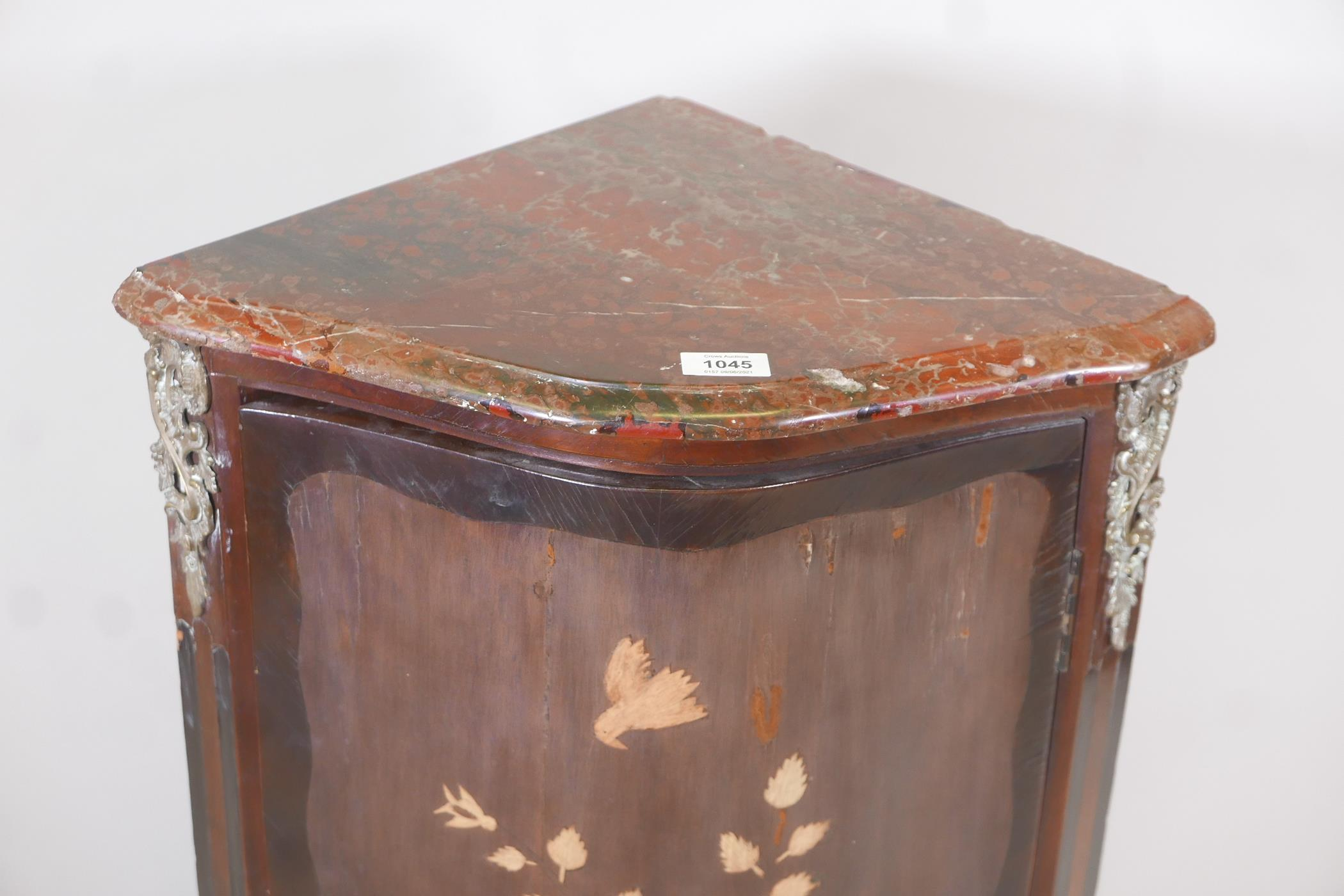 An early C19th French inlaid standing corner cupboard, with rouge marble top and serpentine front - Image 2 of 4