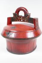 """A Chinese painted carved wood wedding container, 13"""" diameter, 12"""" high"""