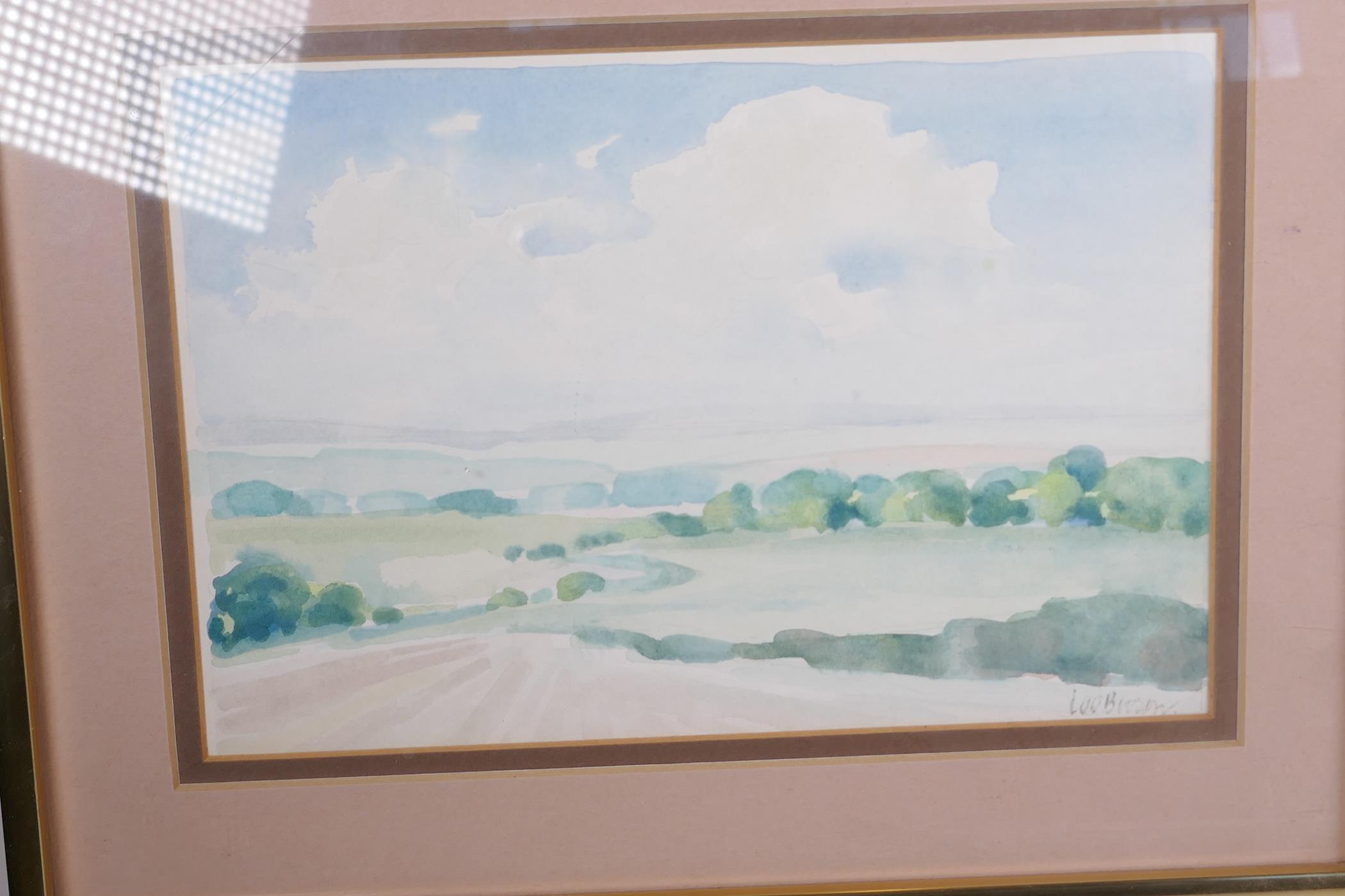 """Lee Brown, three watercolour landscapes, largest 9"""" x 6"""", signed - Image 2 of 4"""