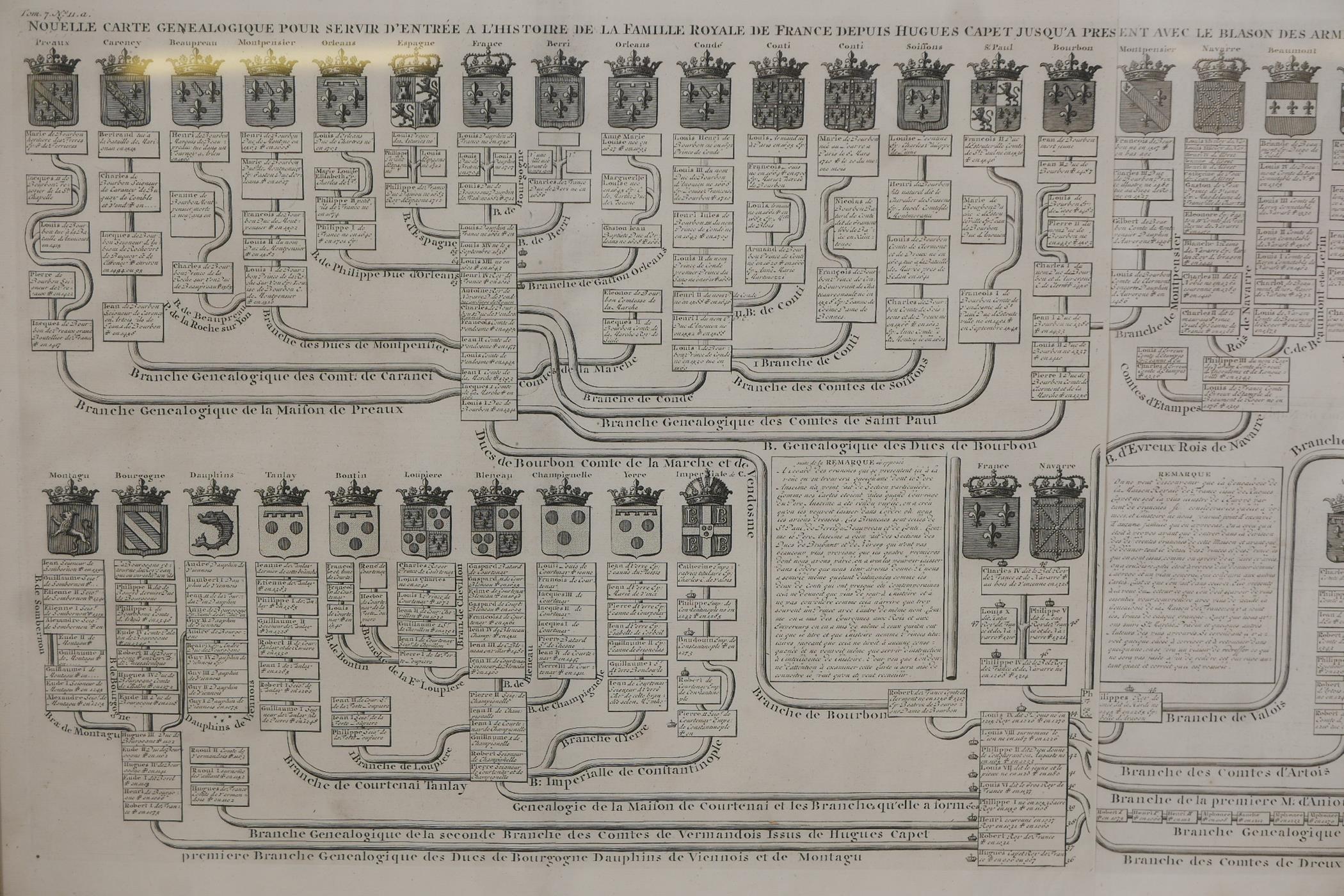 An C18th heraldic engraving, Nouvelle Carte Genealogique, pour servir d'entree a l'histoire de la - Image 2 of 7