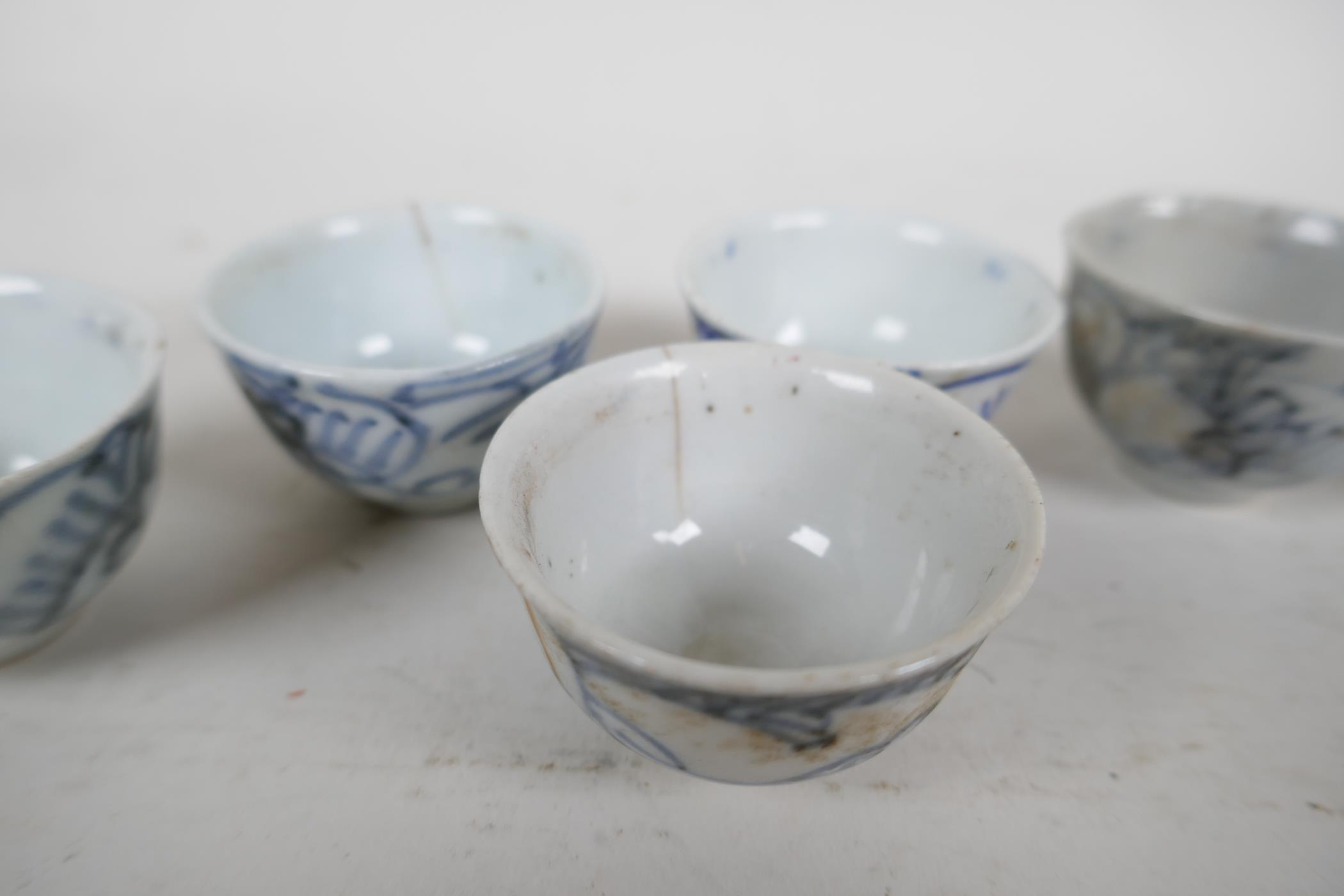 """Six Chinese antique blue and white wine/tea cups, 1½"""" diameter - Image 2 of 3"""