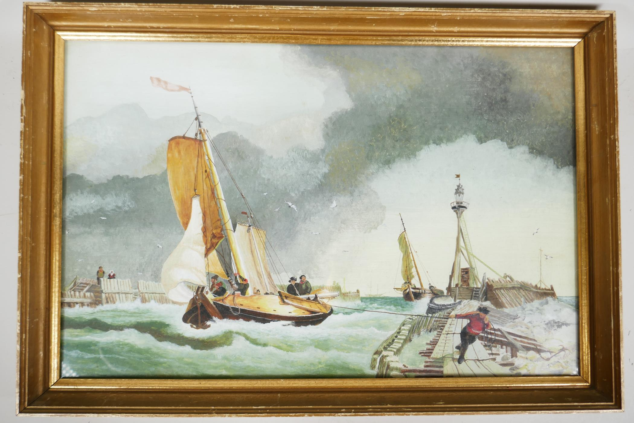 """A.W. Moore, maritime scene, dated '74, watercolour, 19"""" x 13"""" - Image 2 of 2"""