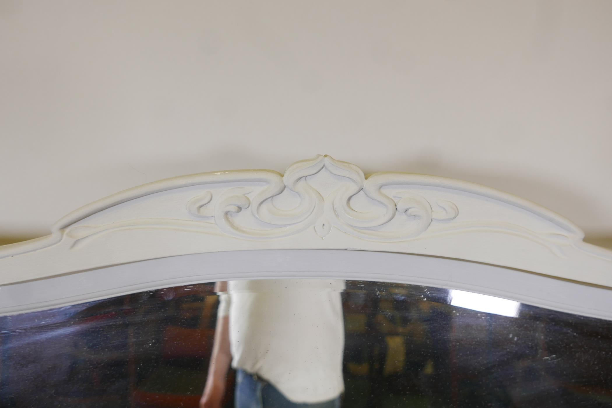 An Edwardian painted dressing table, with carved details, the mirrored top section with two drawers, - Image 5 of 5