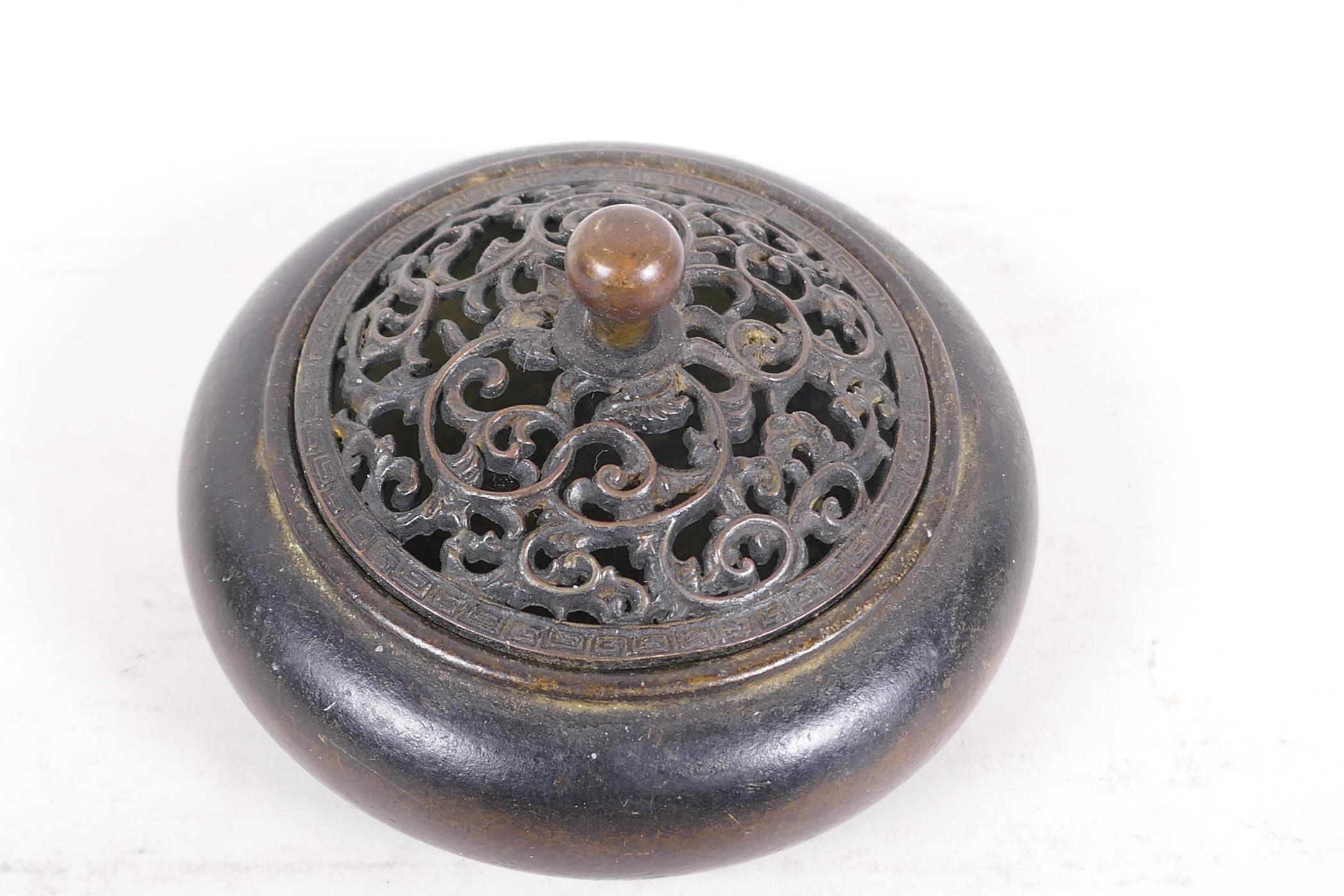 """A Chinese bronze censer with pierced lid, 4"""" diameter - Image 2 of 3"""