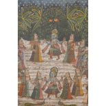 """An Indian painting on silk depicting a ceremonial dance, 'The Wishes of Krishna', 33"""" x 45"""""""