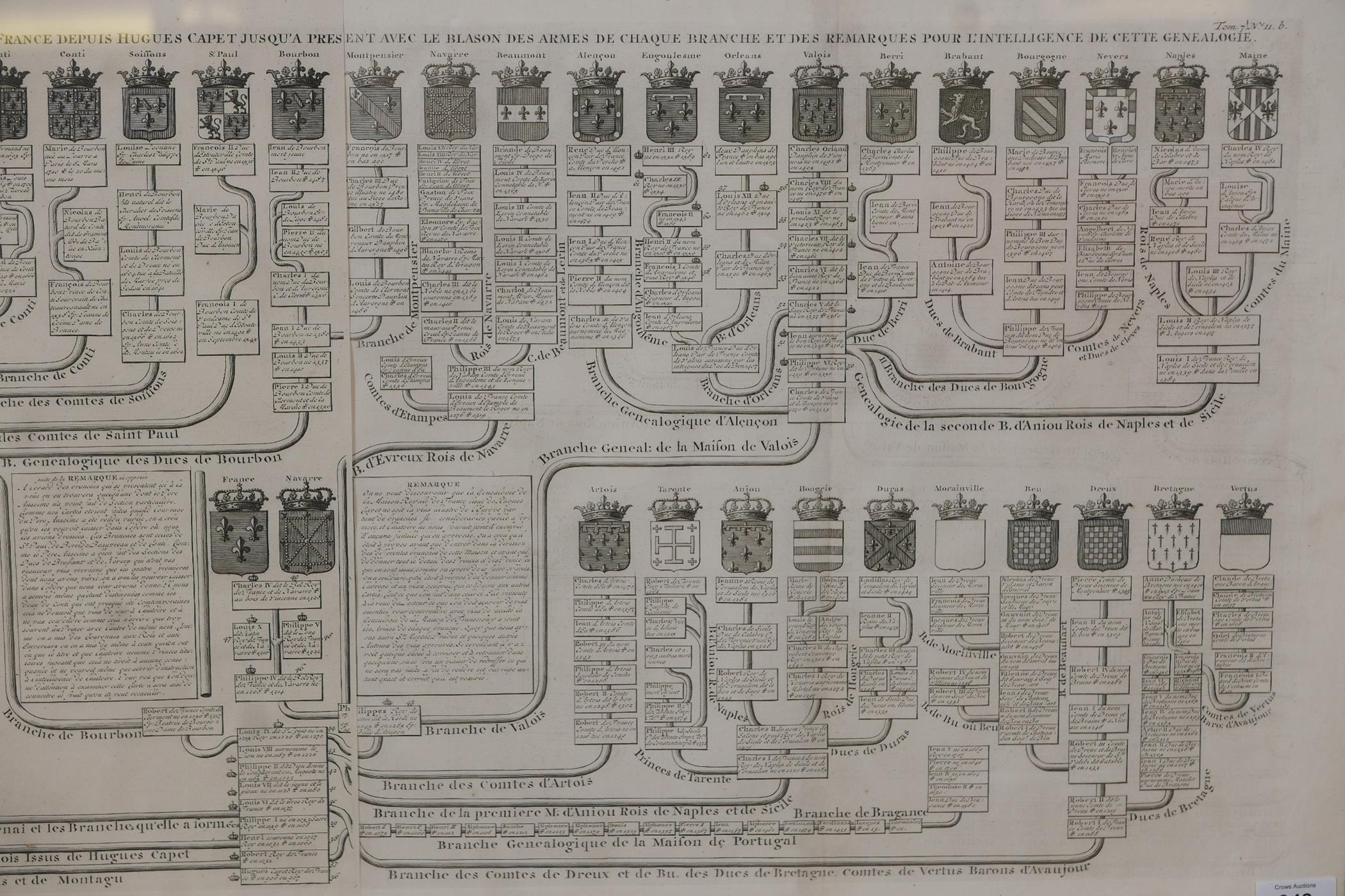 An C18th heraldic engraving, Nouvelle Carte Genealogique, pour servir d'entree a l'histoire de la - Image 3 of 7