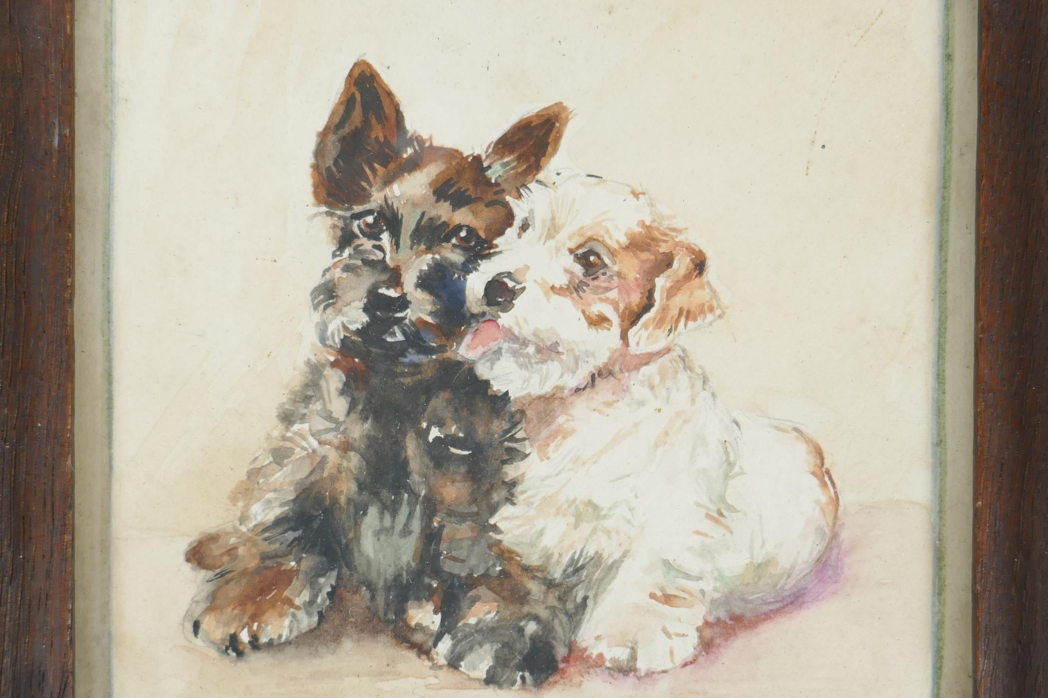 """M. Brucker, small watercolour of two dogs, signed, 5"""" x 5"""""""