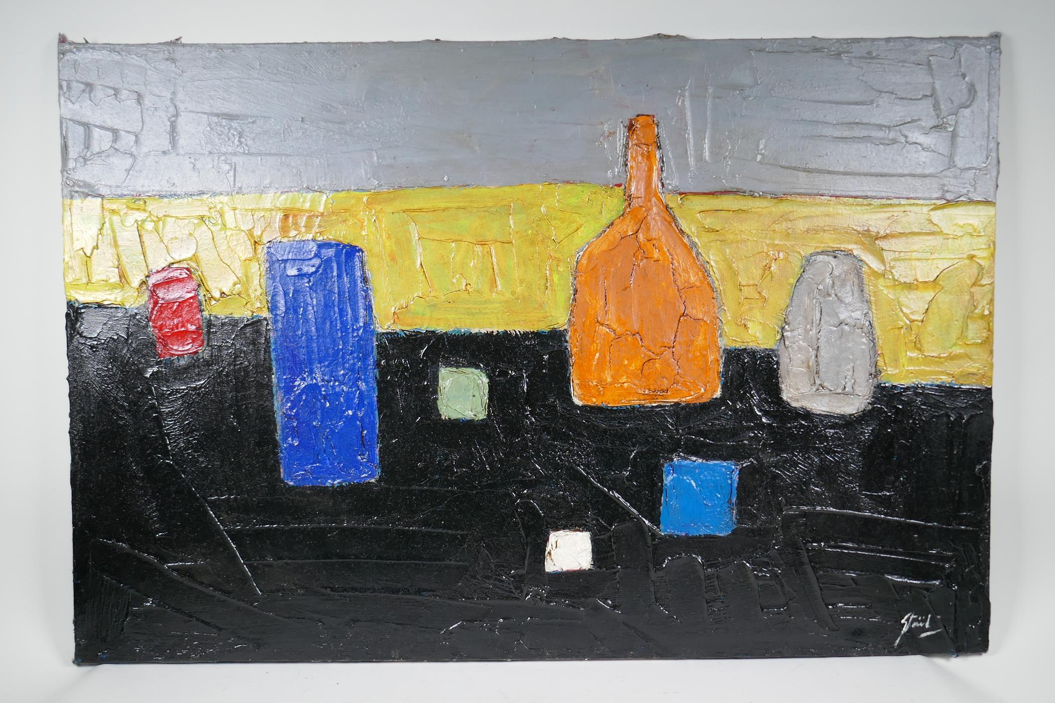 """After Nicolas de Stael, abstract still life of vases, impasto oil on canvas,unframed, 36"""" x 24"""" - Image 2 of 4"""