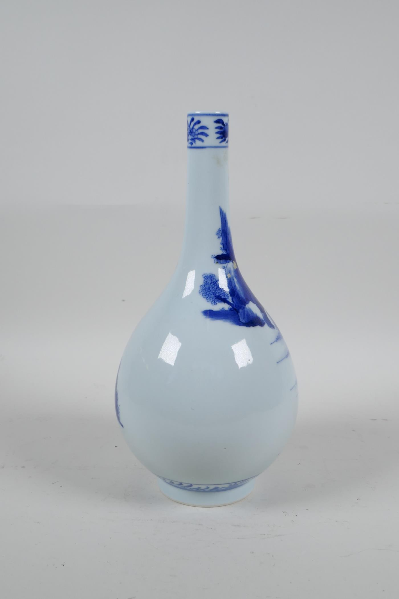 A Chinese blue and white porcelain bottle vase decorated with travellers in a landscape, 6 character - Image 3 of 5