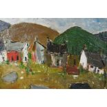 In the manner of Kyffin Williams, Welsh landscape with cottages and distant hills, impasto oil on