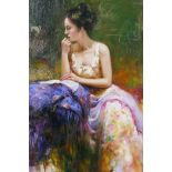 """After Pino Daeni, lady in a colourful gown, Italian impressionist style portrait, 12"""" x 16"""""""