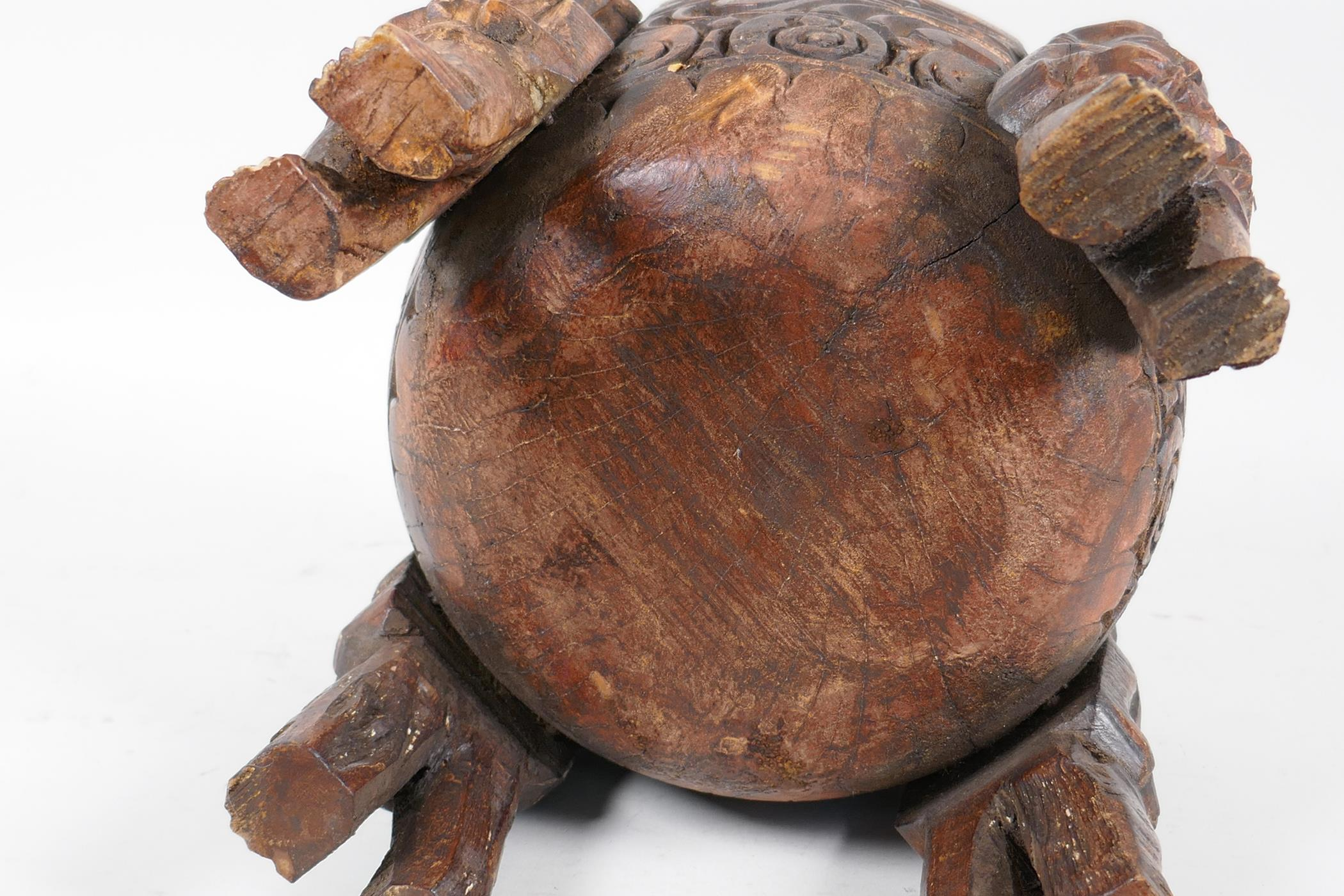"""An ethnic carved wood bowl supported by four figures, 7"""" diameter, 7½"""" high - Image 4 of 4"""