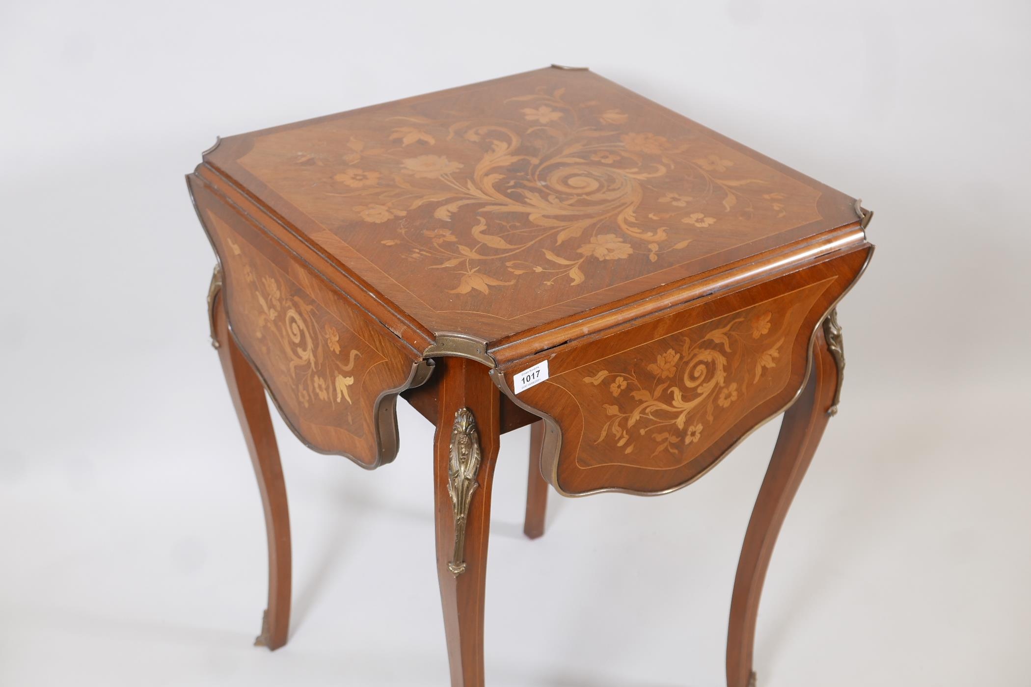 A French C19th marquetry inlaid rosewood centre table, with shaped drop leaves and gilt brass - Image 2 of 5