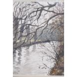 Anthony Hill, winter river landscape, titled verso 'The River Mole in Winter', signed and dated '84,