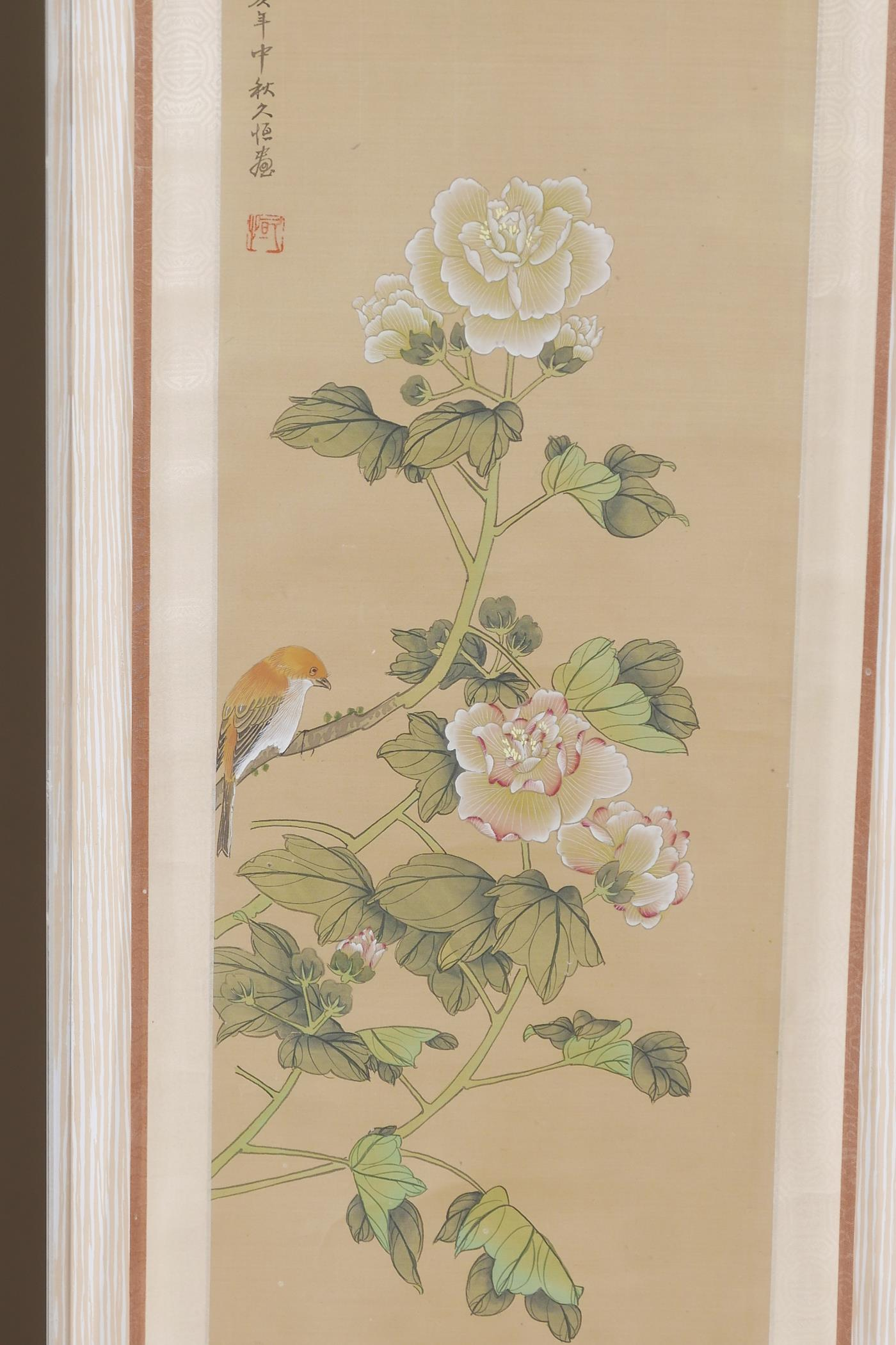 Two framed Chinese scrolls painted with birds and flowers, having inscriptions and red seal marks, - Image 4 of 5