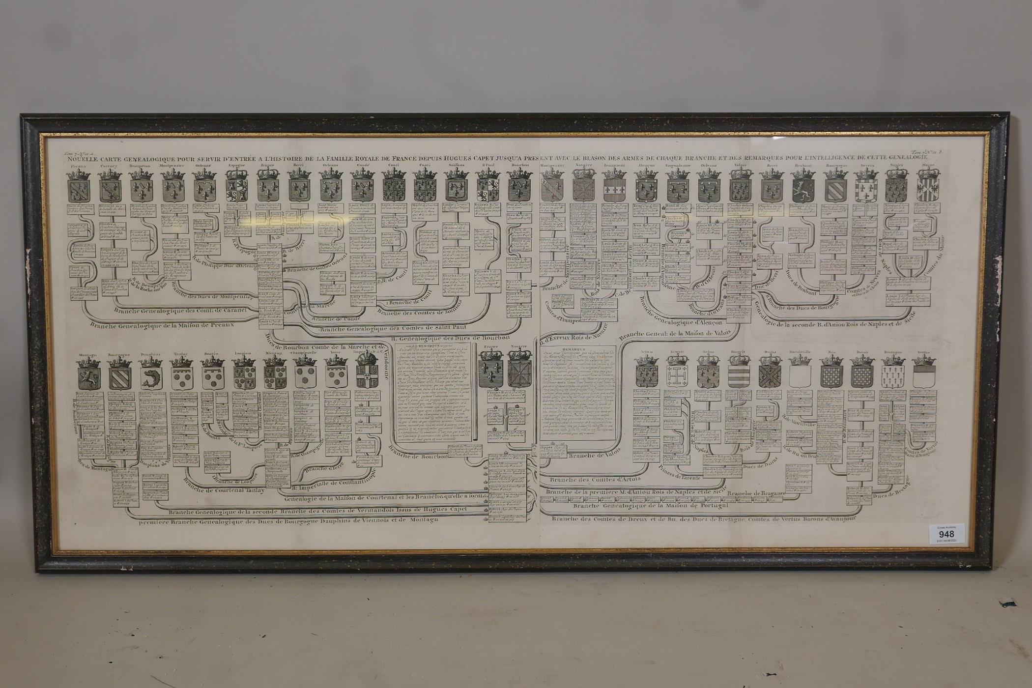 An C18th heraldic engraving, Nouvelle Carte Genealogique, pour servir d'entree a l'histoire de la