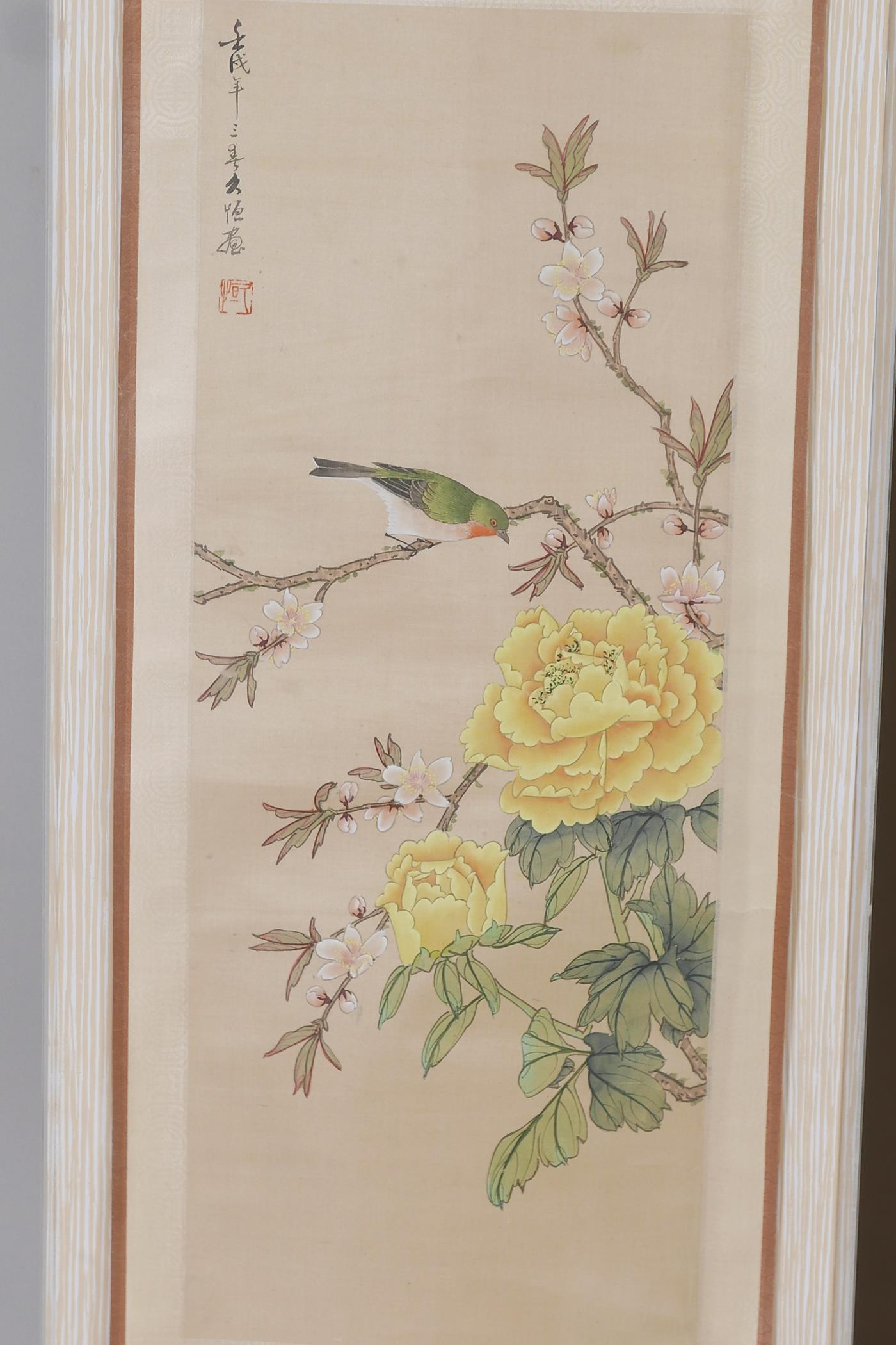 Two framed Chinese scrolls painted with birds and flowers, having inscriptions and red seal marks, - Image 2 of 5