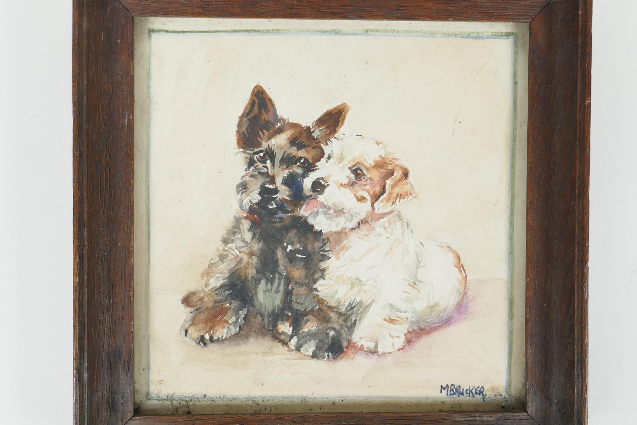 """M. Brucker, small watercolour of two dogs, signed, 5"""" x 5"""" - Image 2 of 4"""