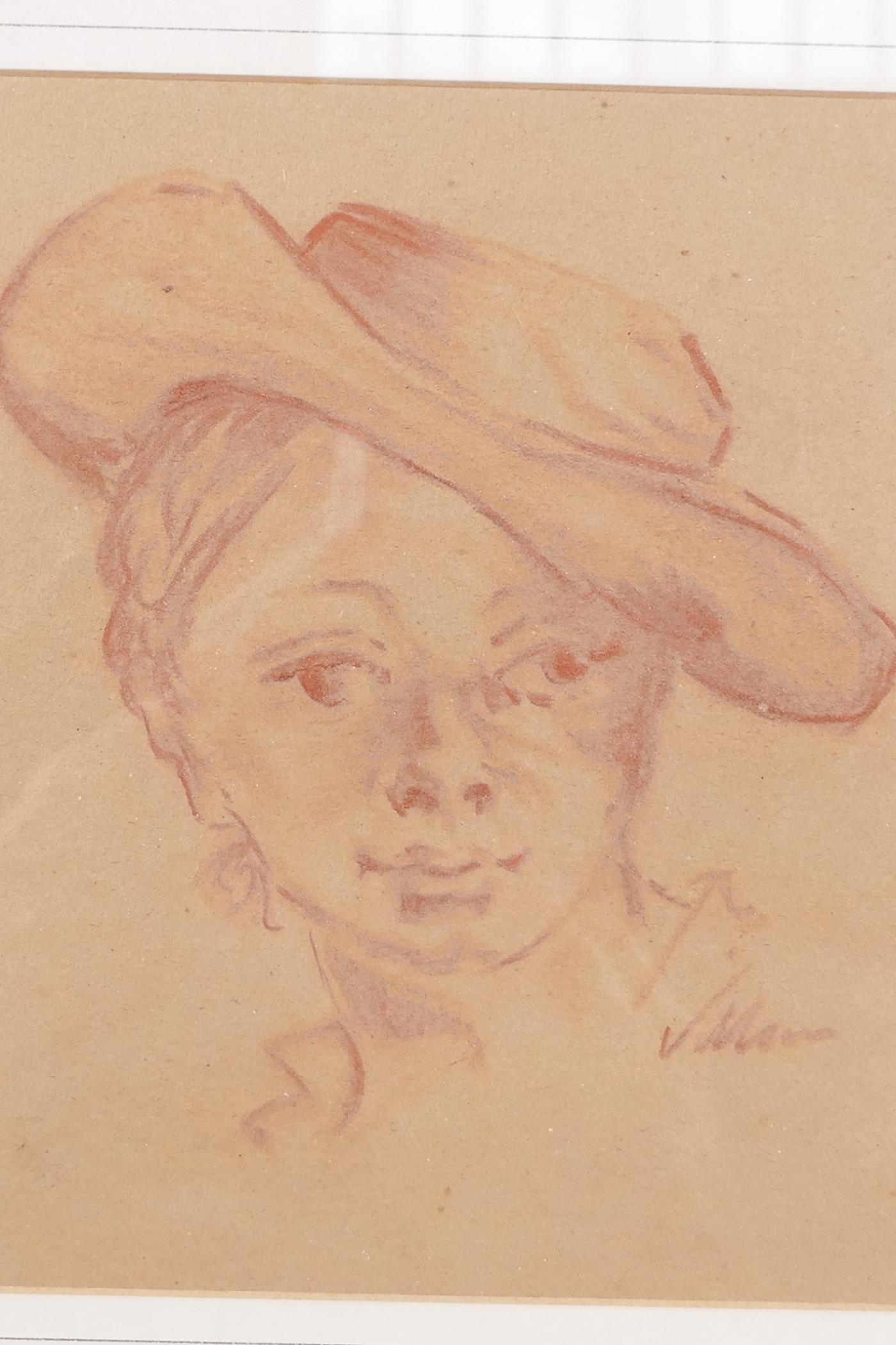 """Jacques Villon, red chalk sketch, study of a boy's head, after the classical, 6½"""" x 7"""", signed"""