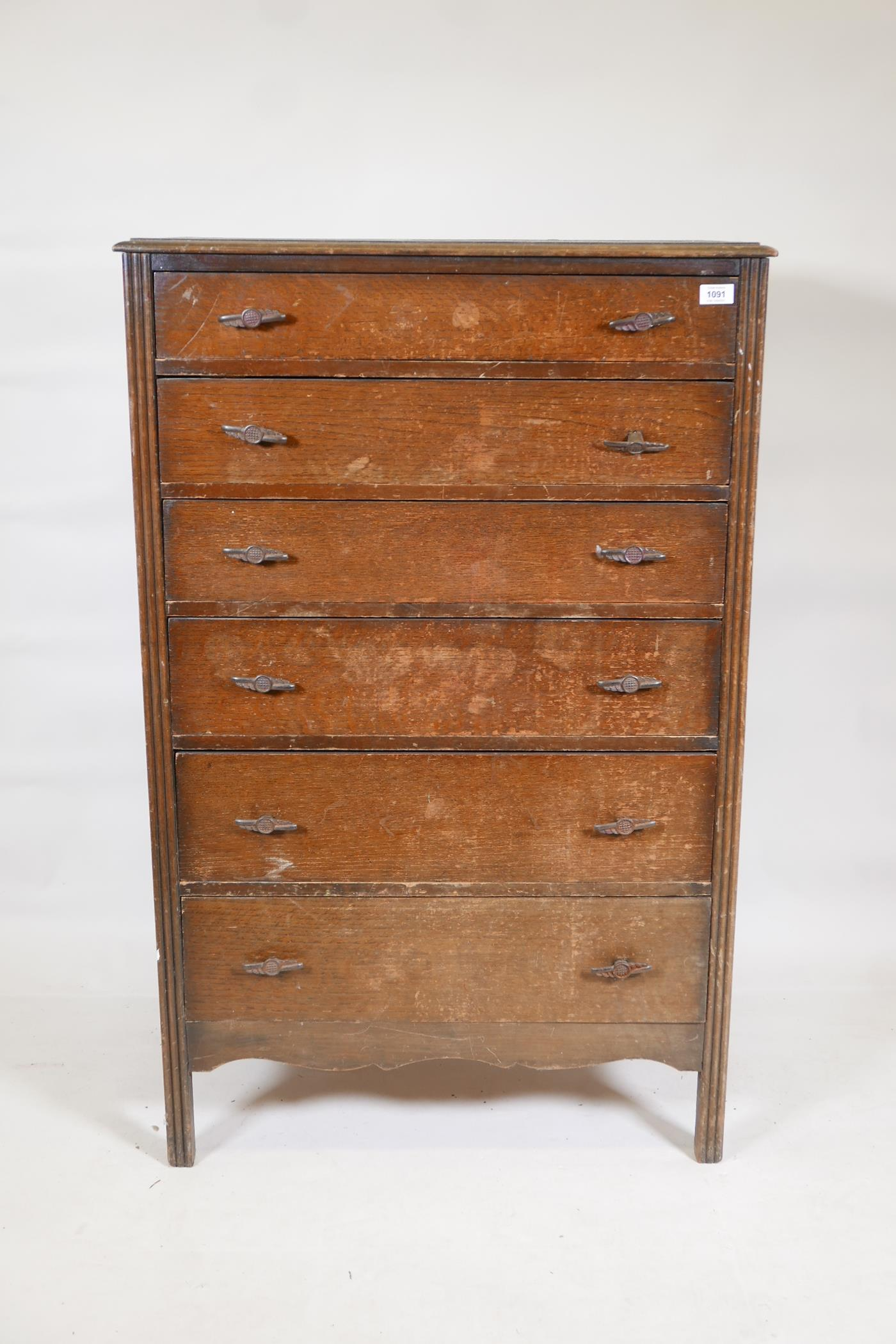 """A 1930s oak tallboy with six graduated drawers, 30"""" x 17"""", 47"""" high"""