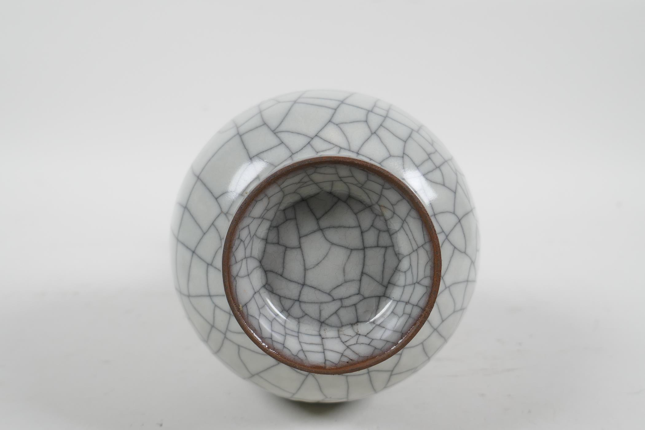 """A Chinese crackleware pottery vase, 8"""" high - Image 4 of 4"""