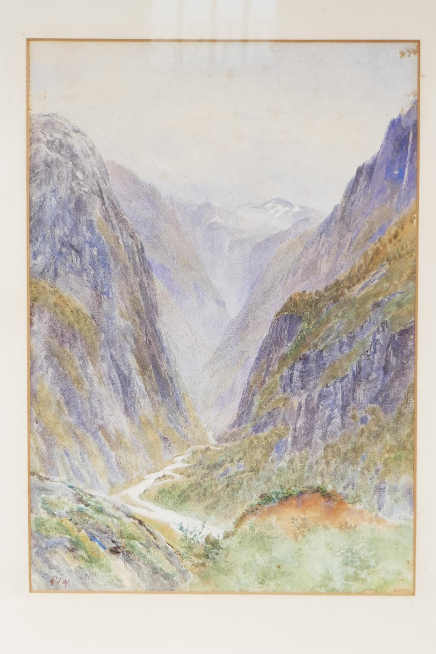 """A watercolour mountain landscape with deep river gorge initialled RJM, 9½"""" x 13½"""", - Image 2 of 4"""