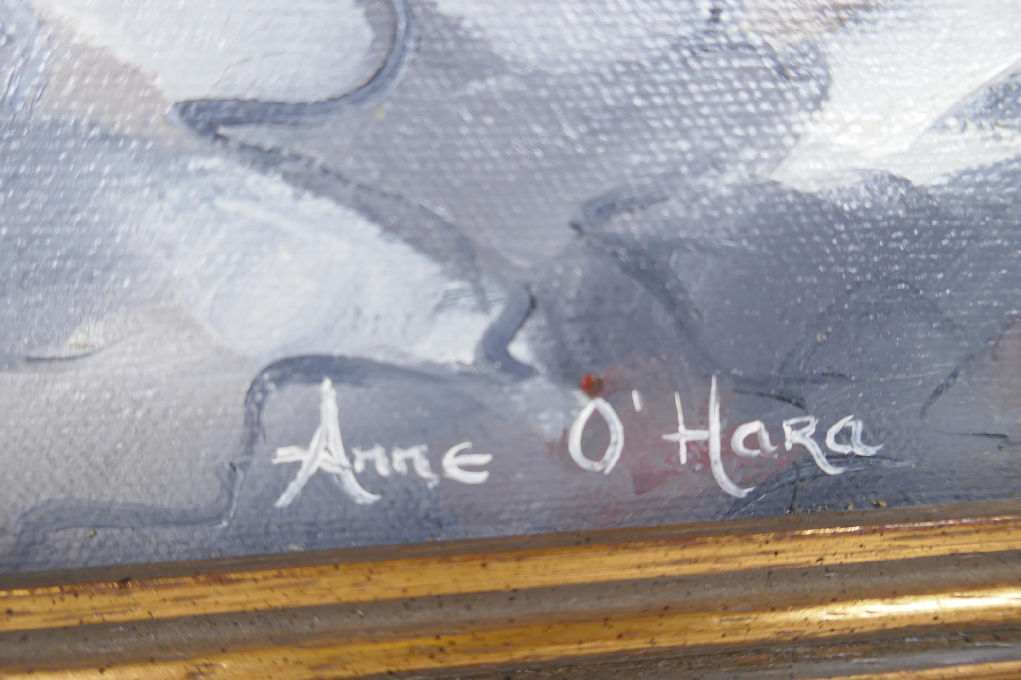"Anne O' Hara, Irish coastal landscape, titled 'Ballybunion', signed, oil on canvas, 30"" x 18"" - Image 5 of 5"
