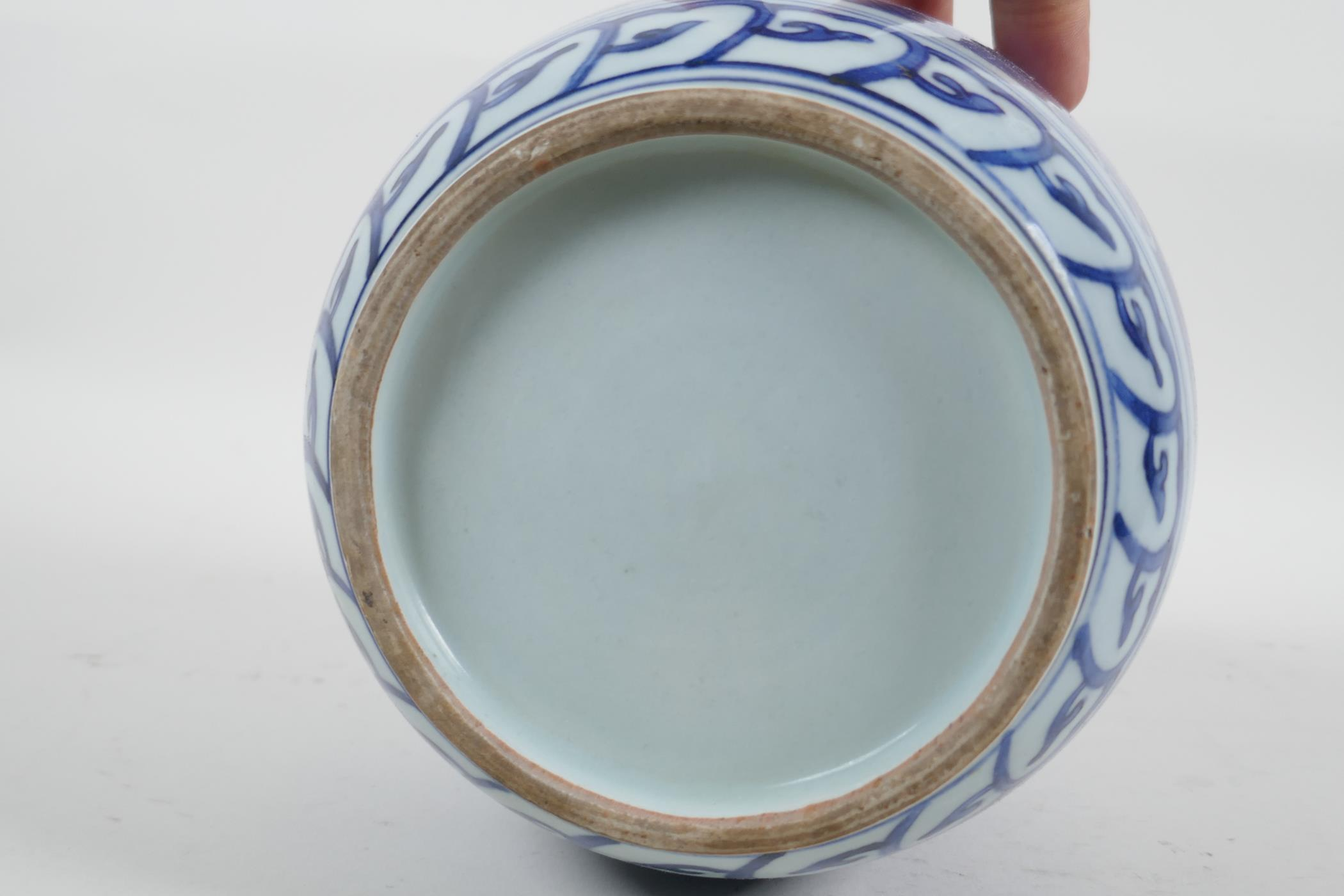 """A Chinese blue and white porcelain pot, with decorative panels depicting birds and flowers, 6½"""" high - Image 4 of 4"""