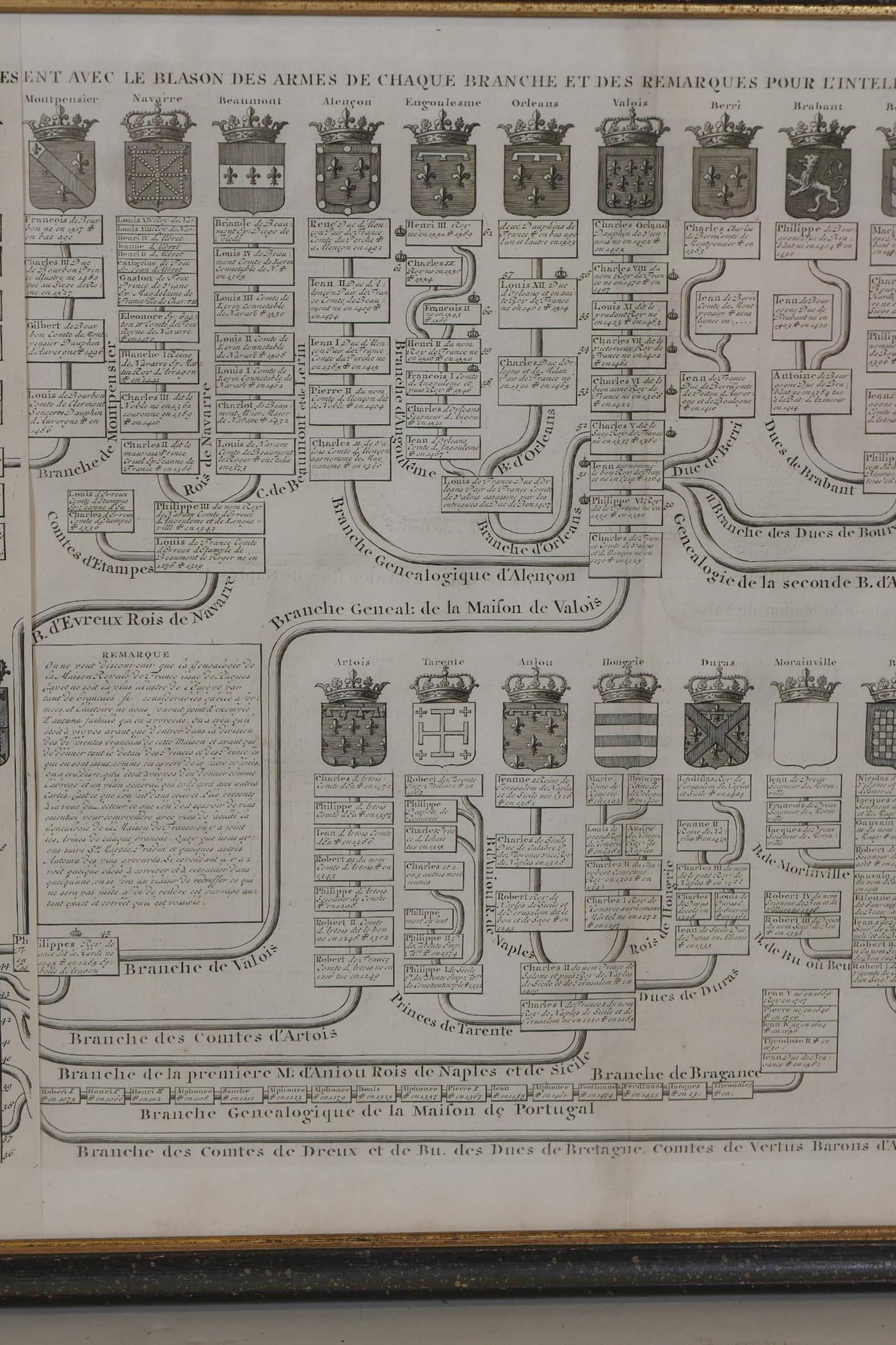 An C18th heraldic engraving, Nouvelle Carte Genealogique, pour servir d'entree a l'histoire de la - Image 6 of 7