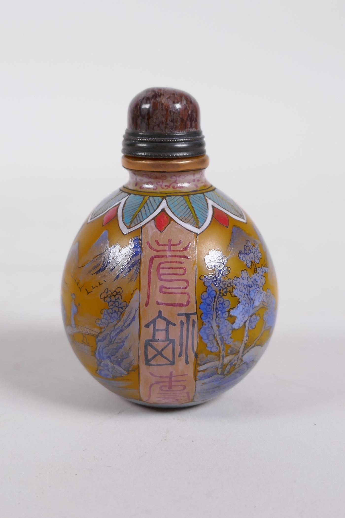 A yellow Peking glass snuff bottle decorated with a blue enamel riverside landscape, 4 character - Image 2 of 5