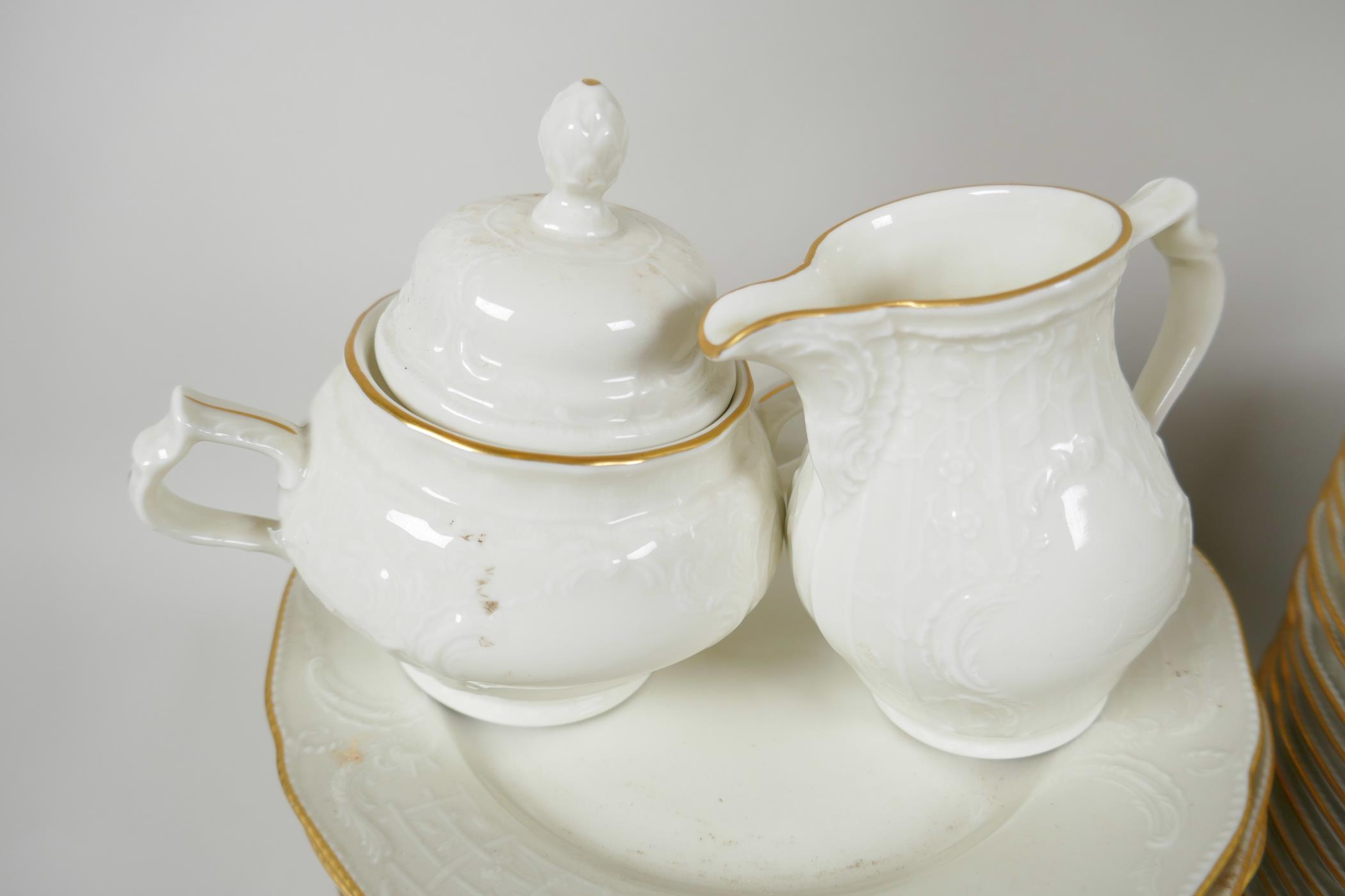 A Rosenthal 'Classic' part dinner and tea service with cream glaze and embossed decoration - Image 4 of 5