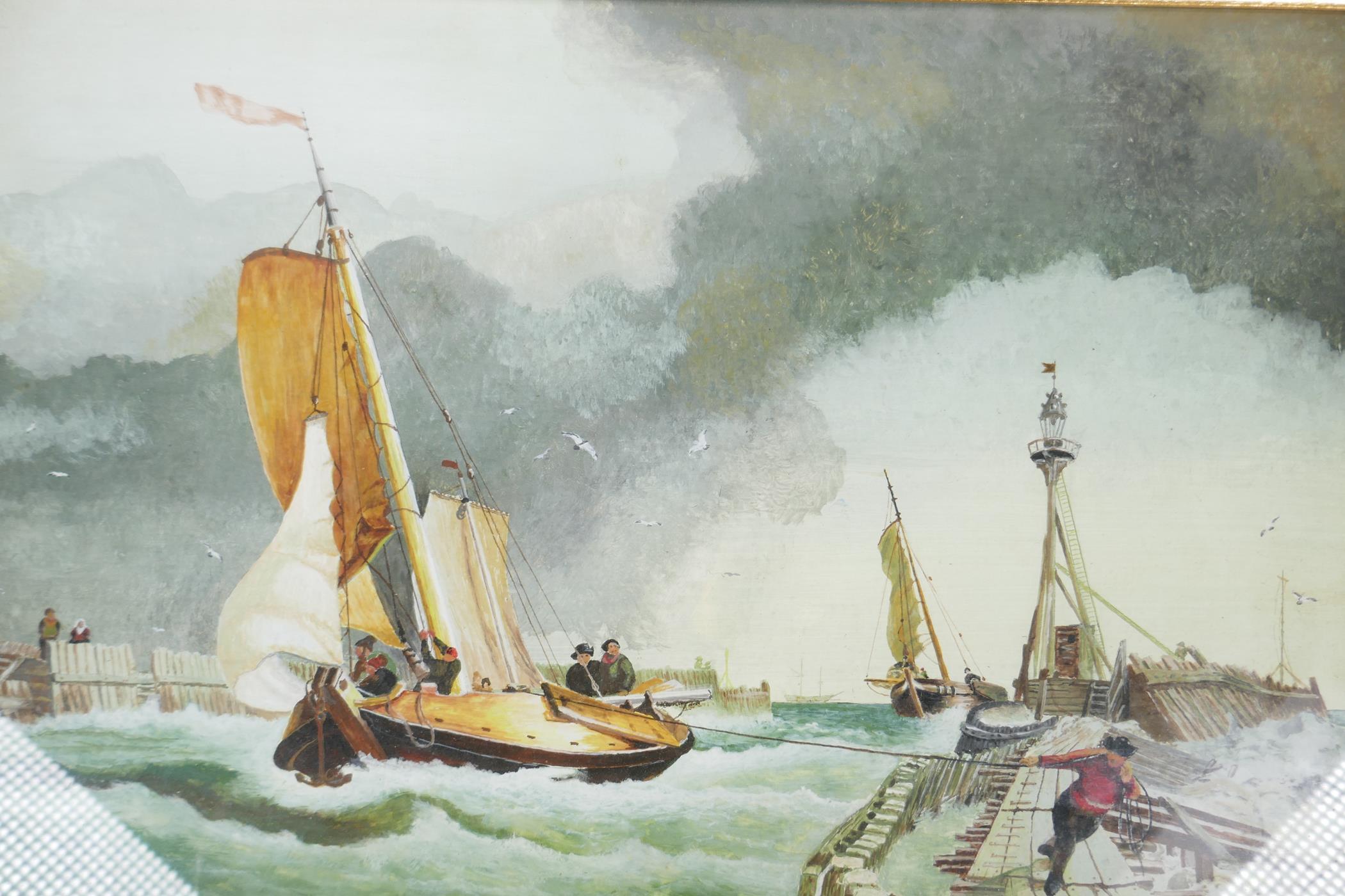 "A.W. Moore, maritime scene, dated '74, watercolour, 19"" x 13"""